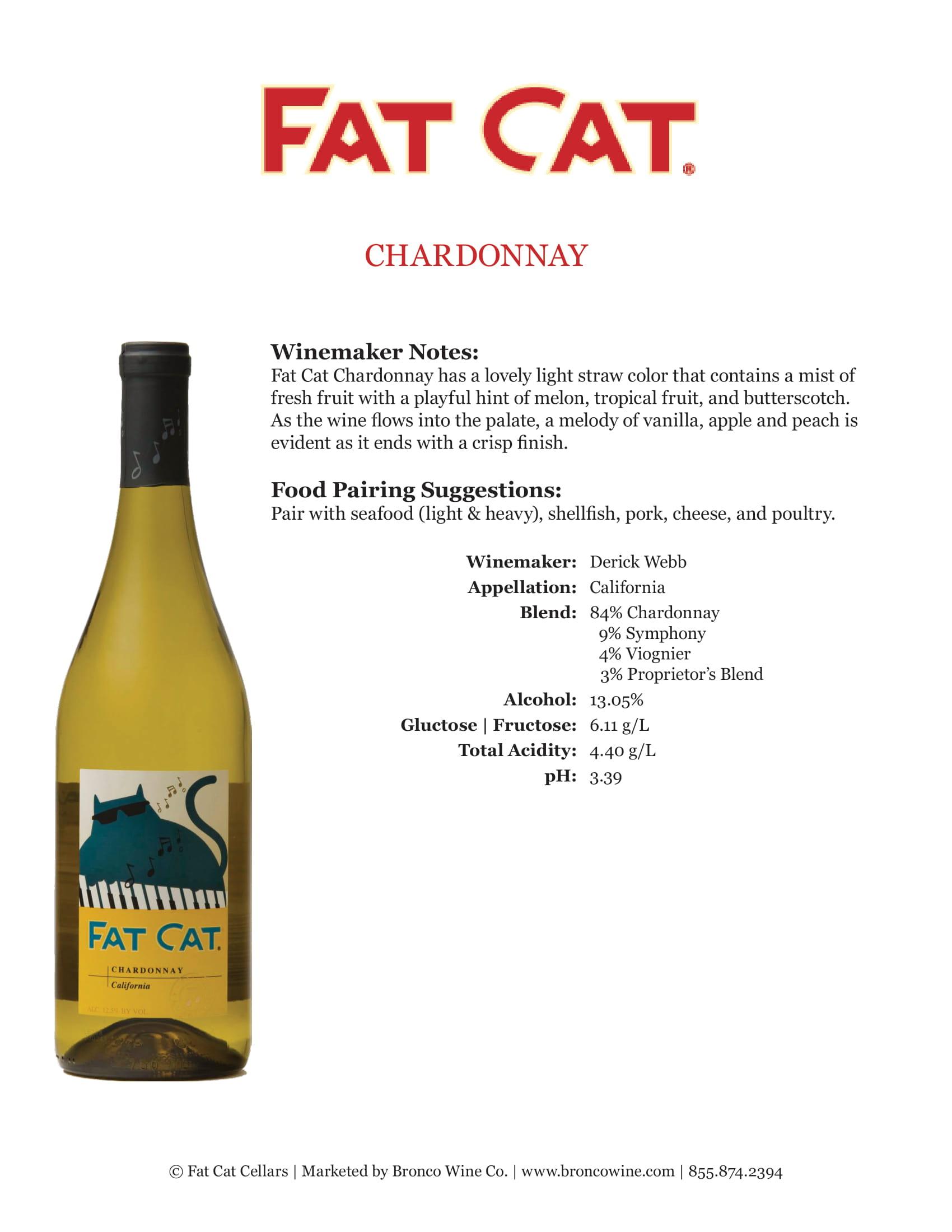 Fat Cat Chardonnay Tech Sheet