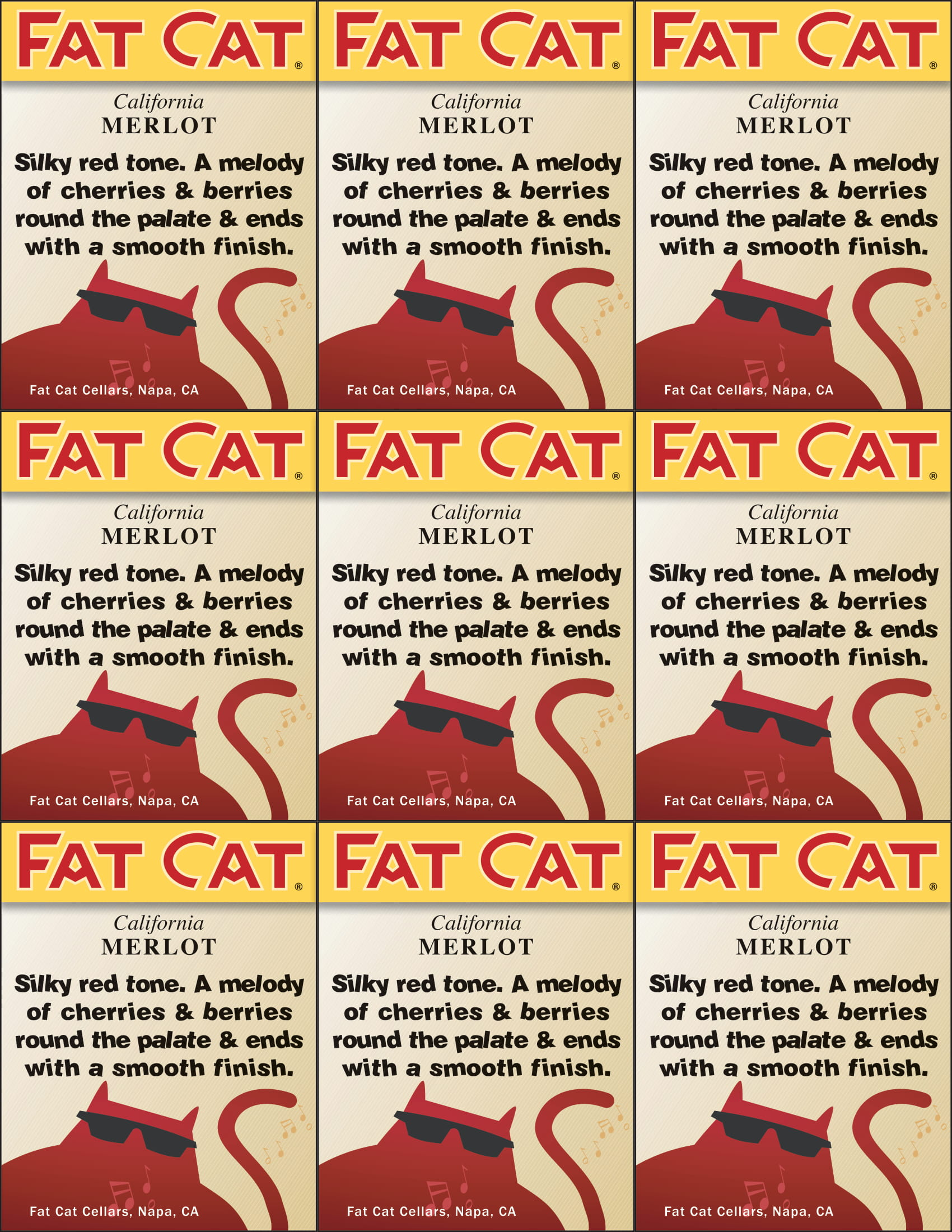 Fat Cat Merlot Shelf Talkers
