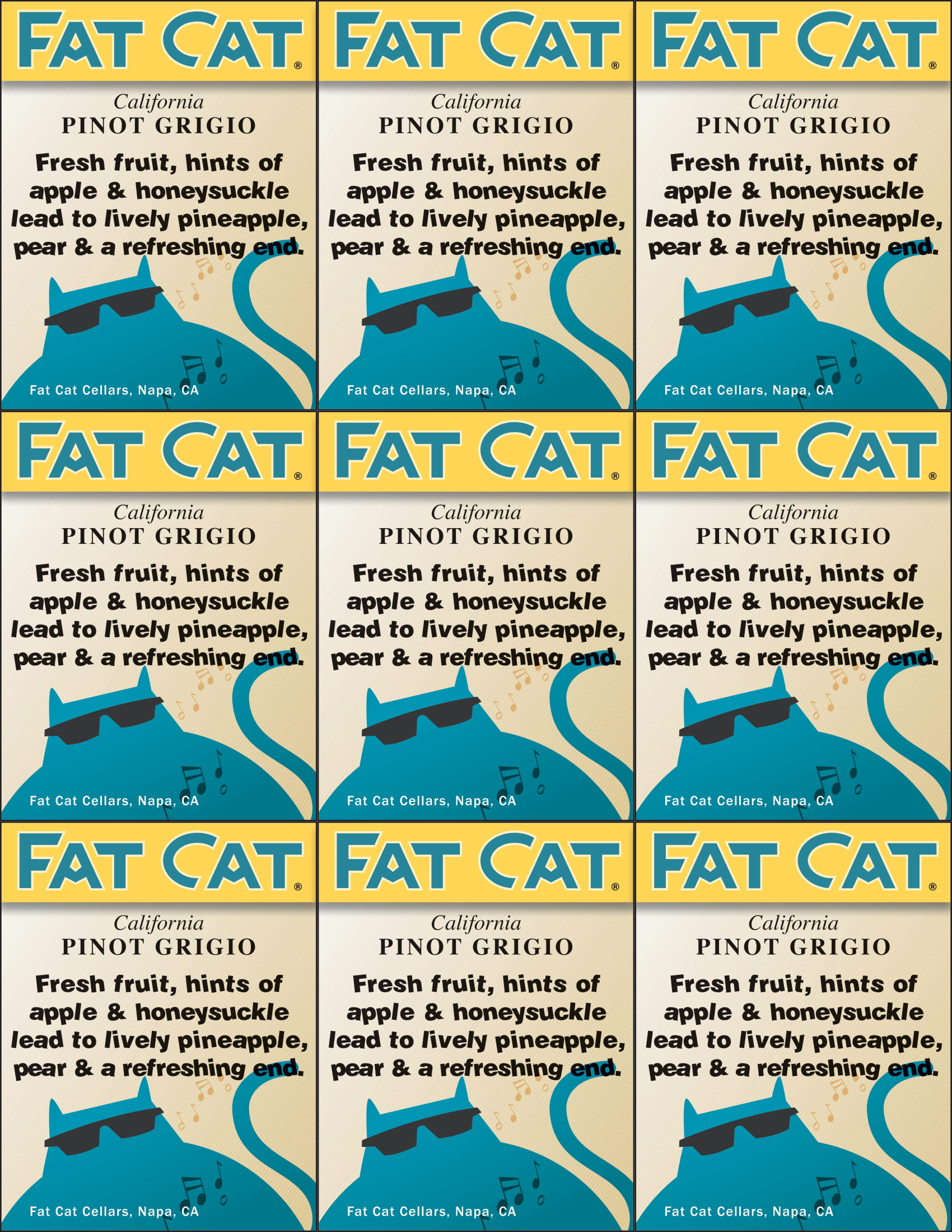 Fat Cat Pinot Grigio Shelf Talkers