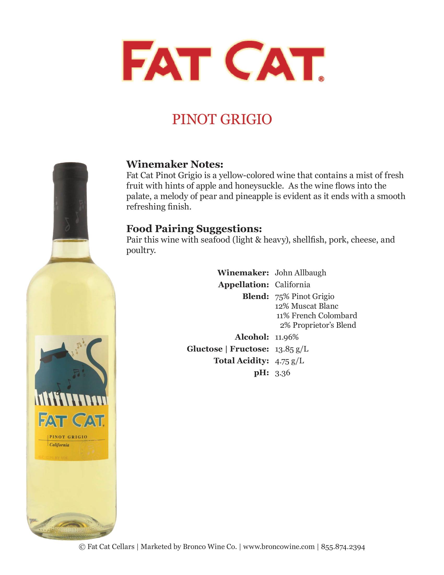 Fat Cat Pinot Grigio Tech Sheet