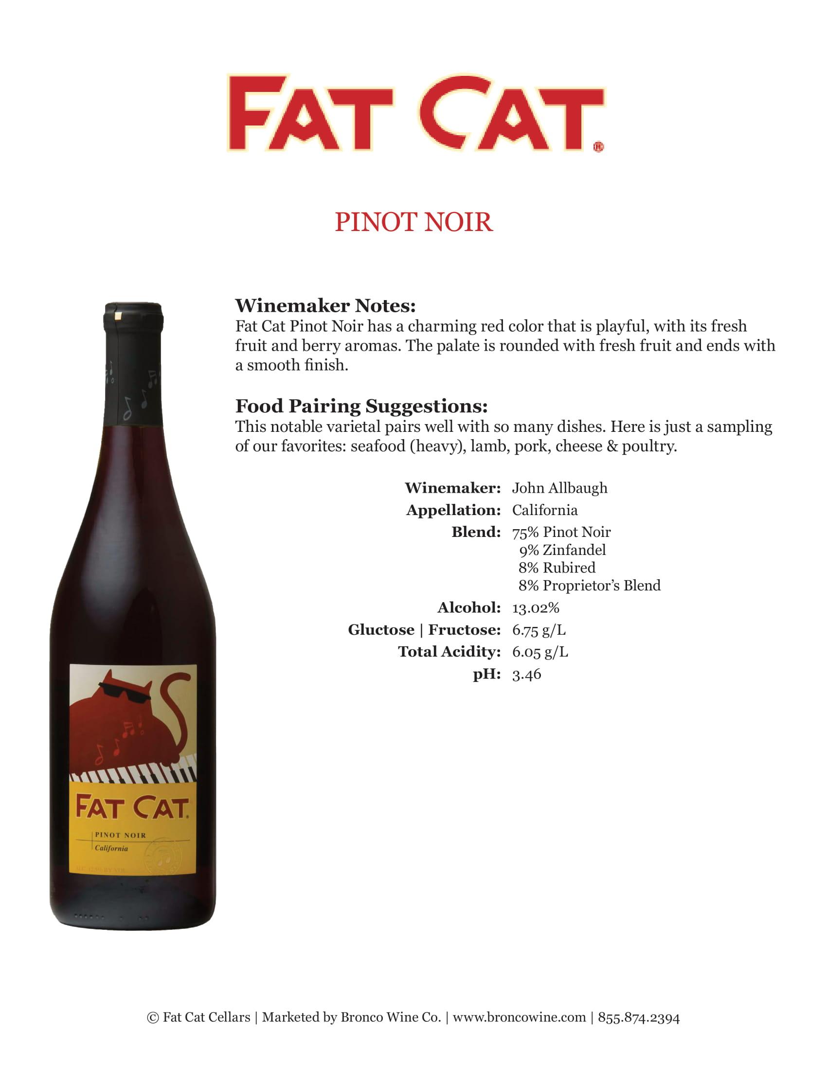 Fat Cat Pinot Noir Tech Sheet