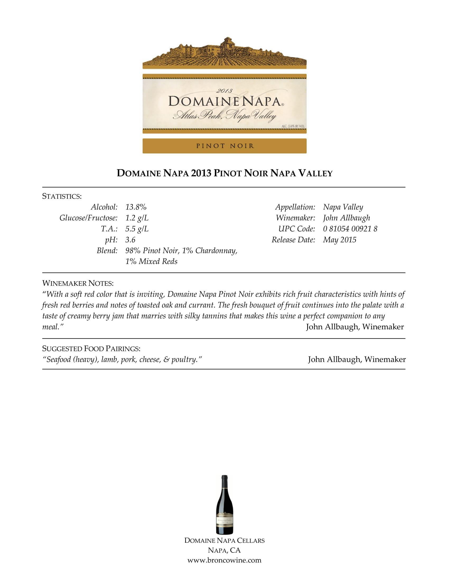 Domaine Napa Pinot Noir Sell Sheet