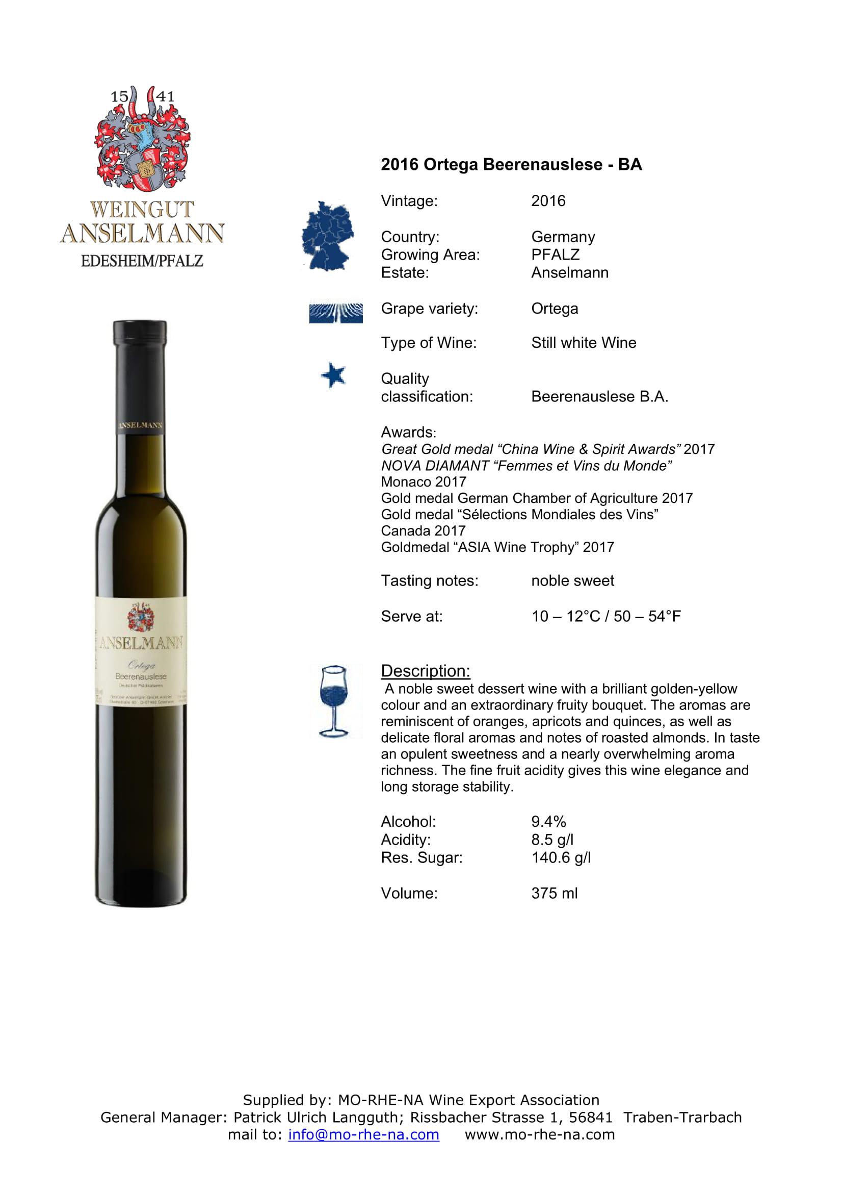 Anselmann Ortega Beerenauslese Sell Sheet