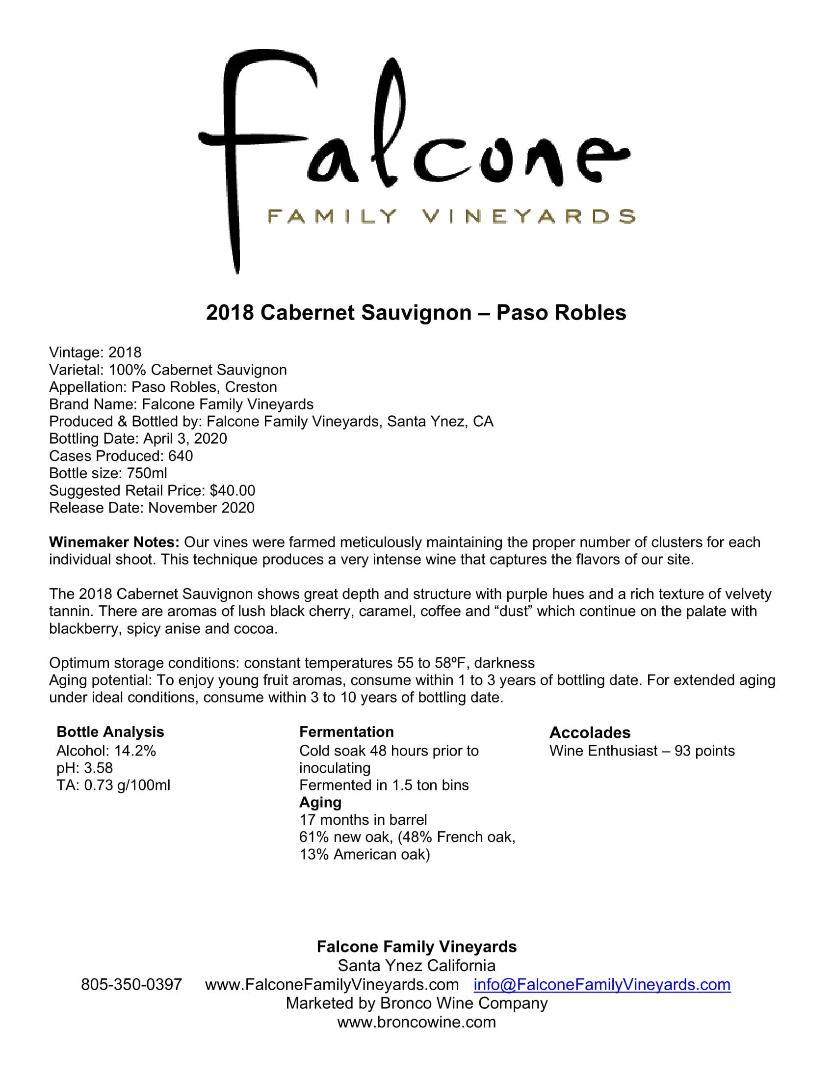 Falcone Family Vineyards Cabernet Sauvignon Tech Sheet