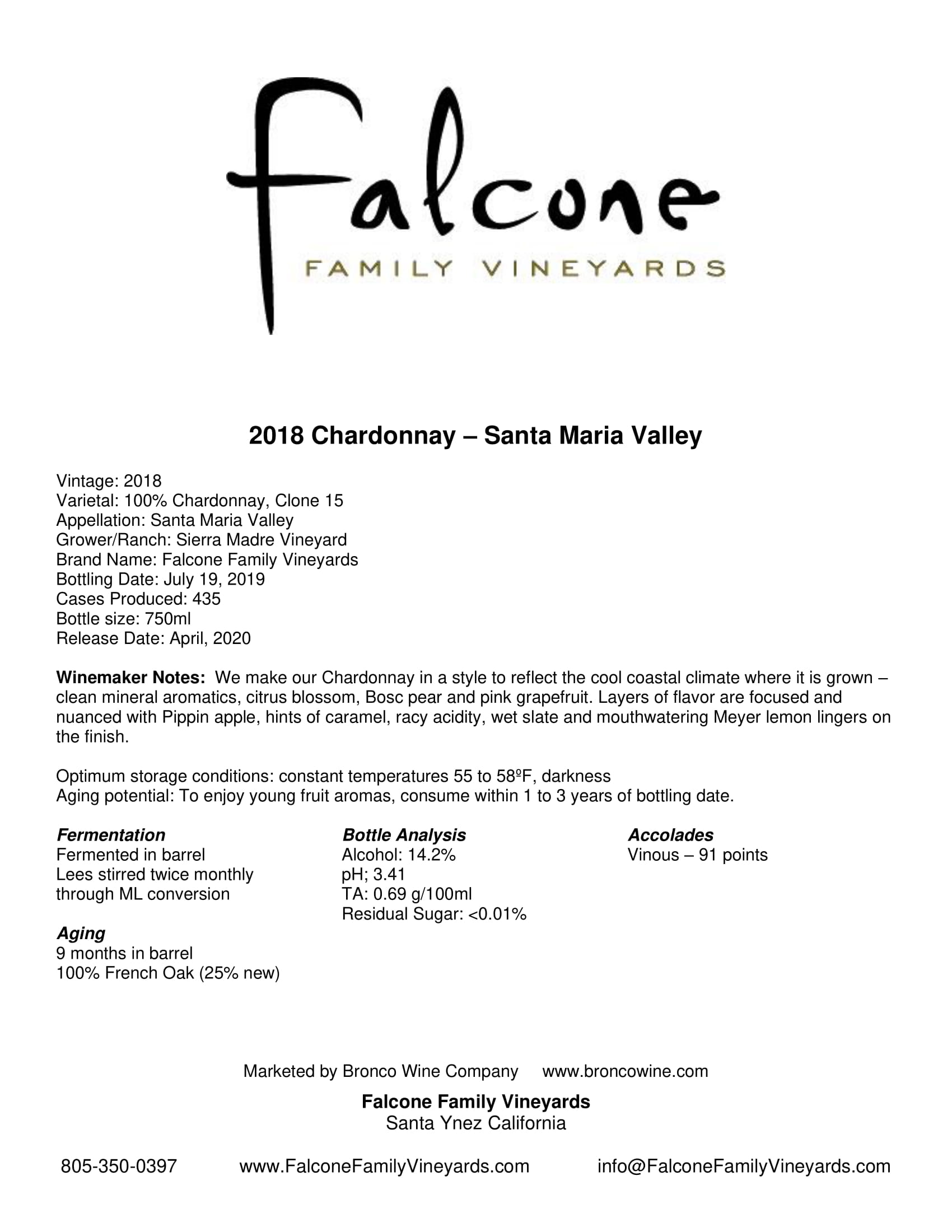 Falcone Family Vineyards Chardonnay Tech Sheet