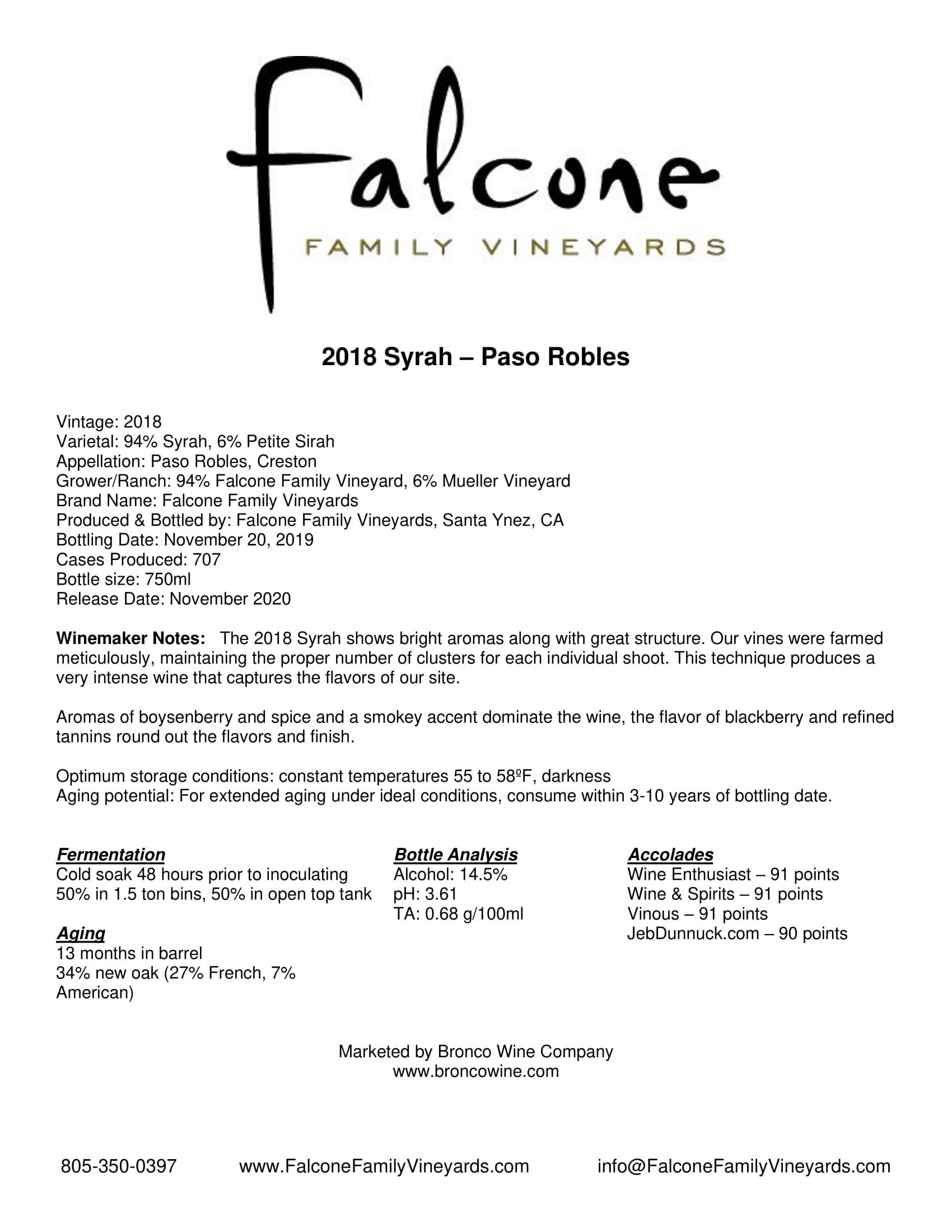 Falcone Family Vineyards Syrah Tech Sheet