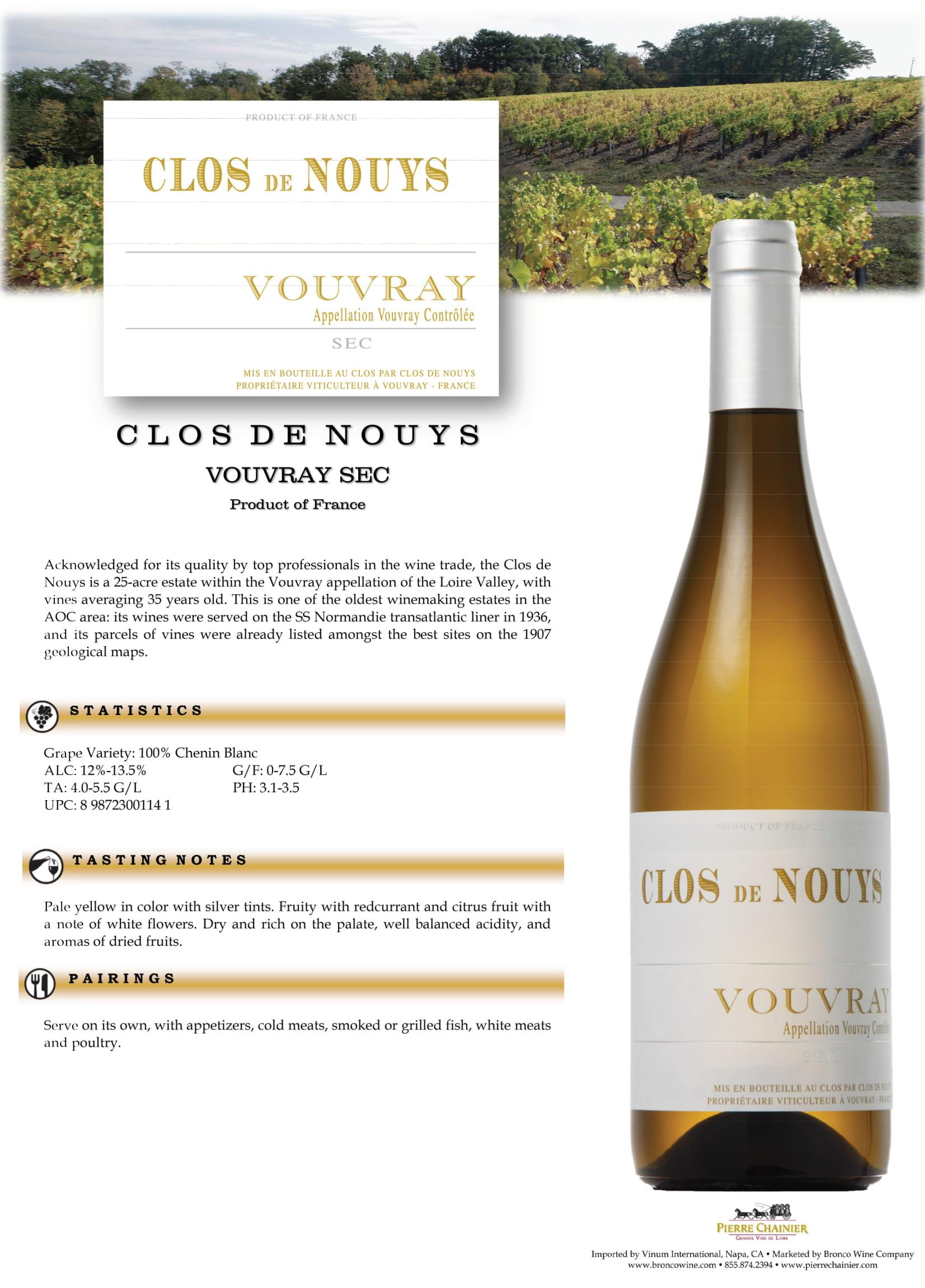 Clos de Nouys Vouvray Sec Tech Sheet