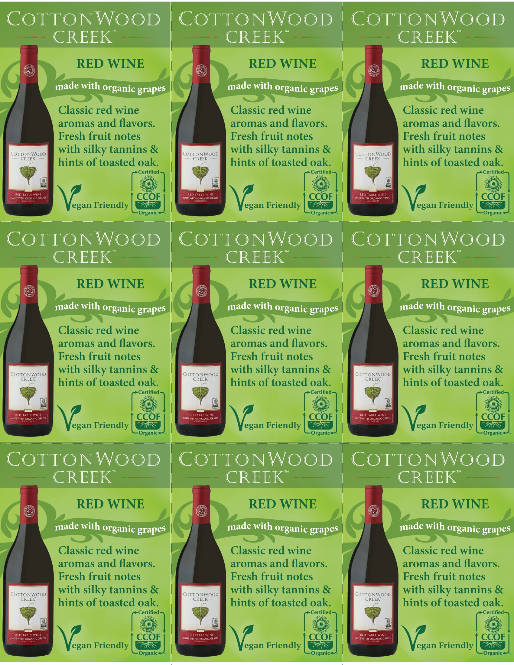 Cottonwood Creek Red Wine Shelf Talker