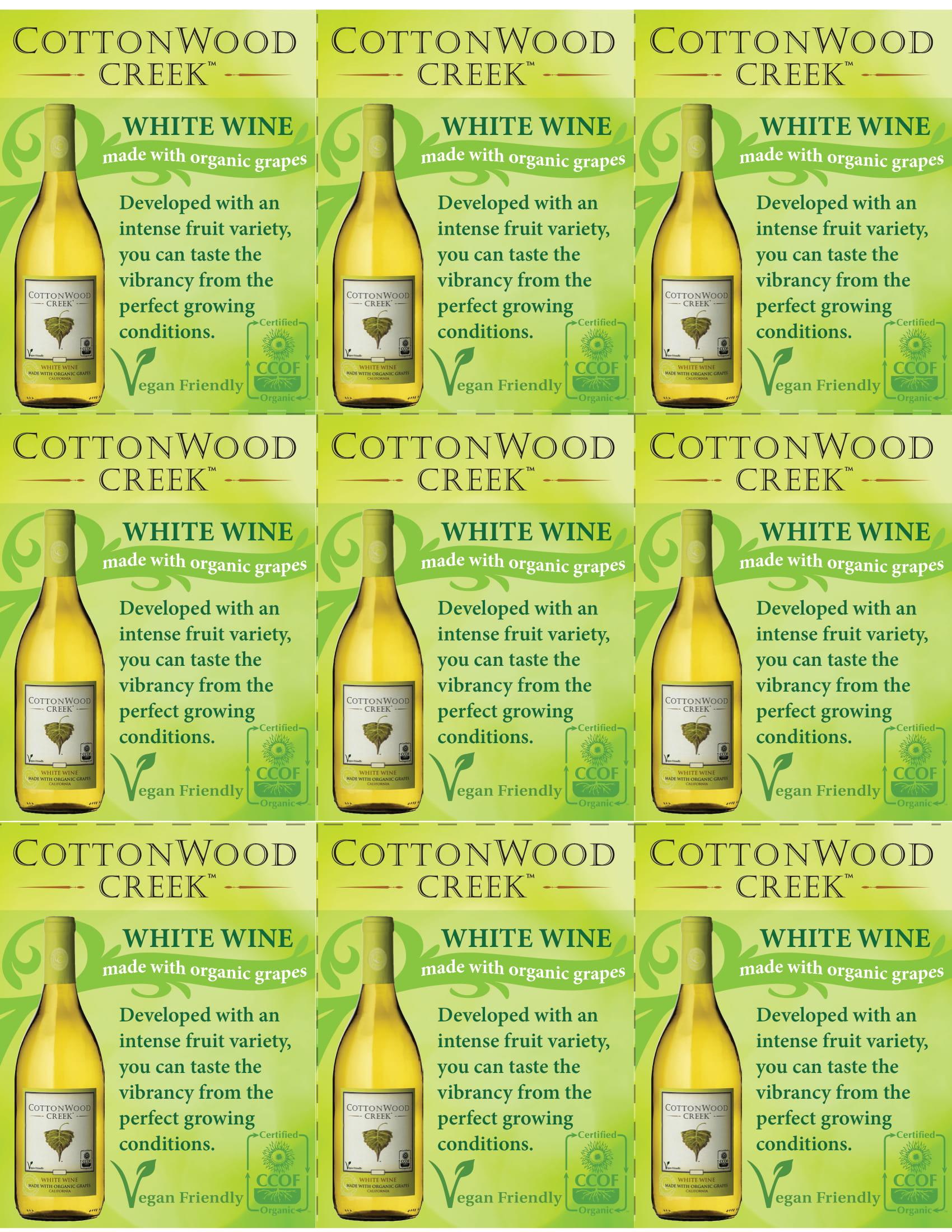 Cottonwood Creek White Wine Shelf Talker