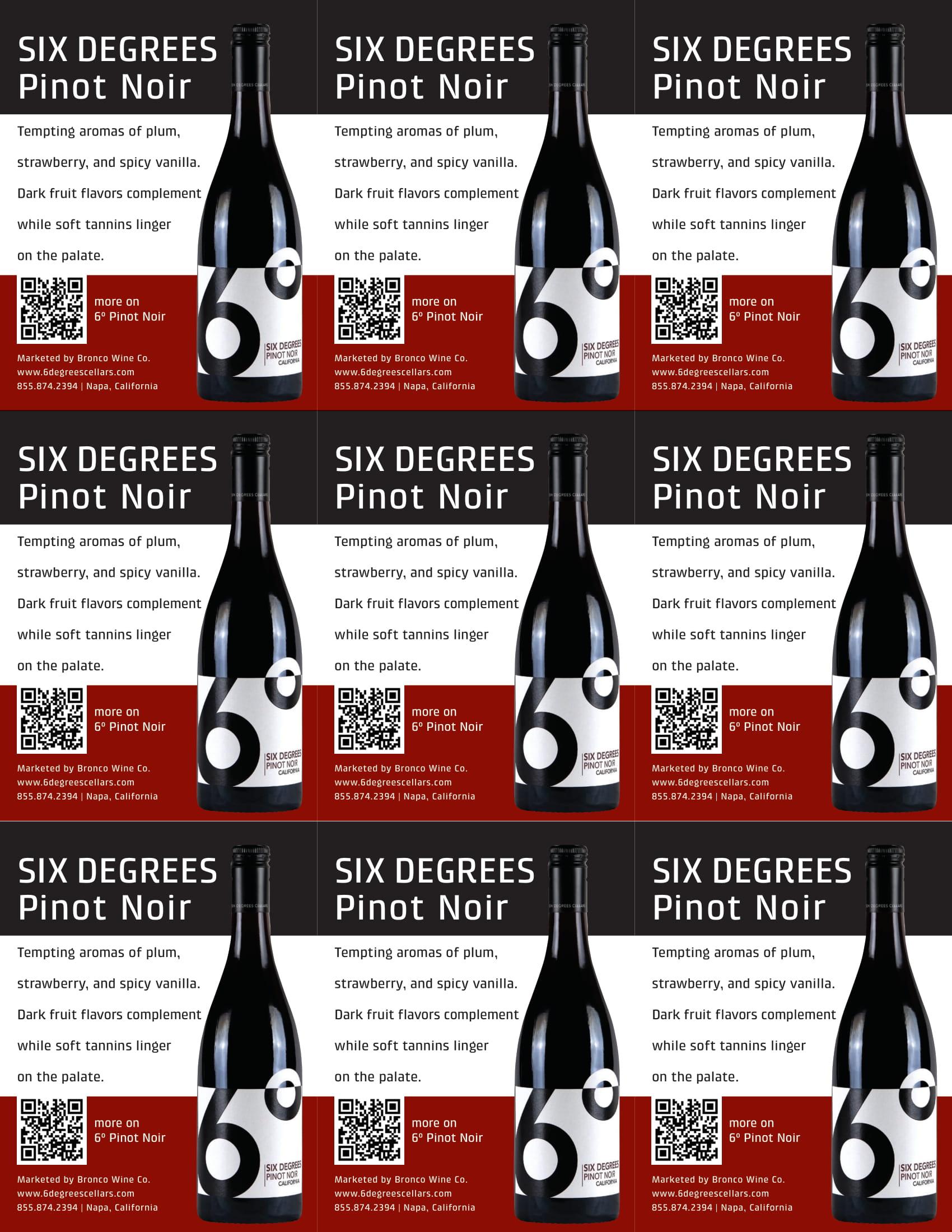 6 Degrees Pinot Noir Shelf Talkers
