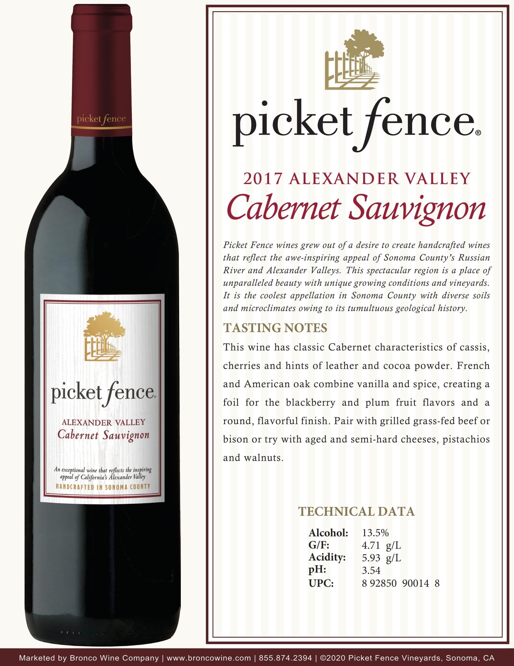 Picket Fence Cabernet Sauvignon Tech Sheet