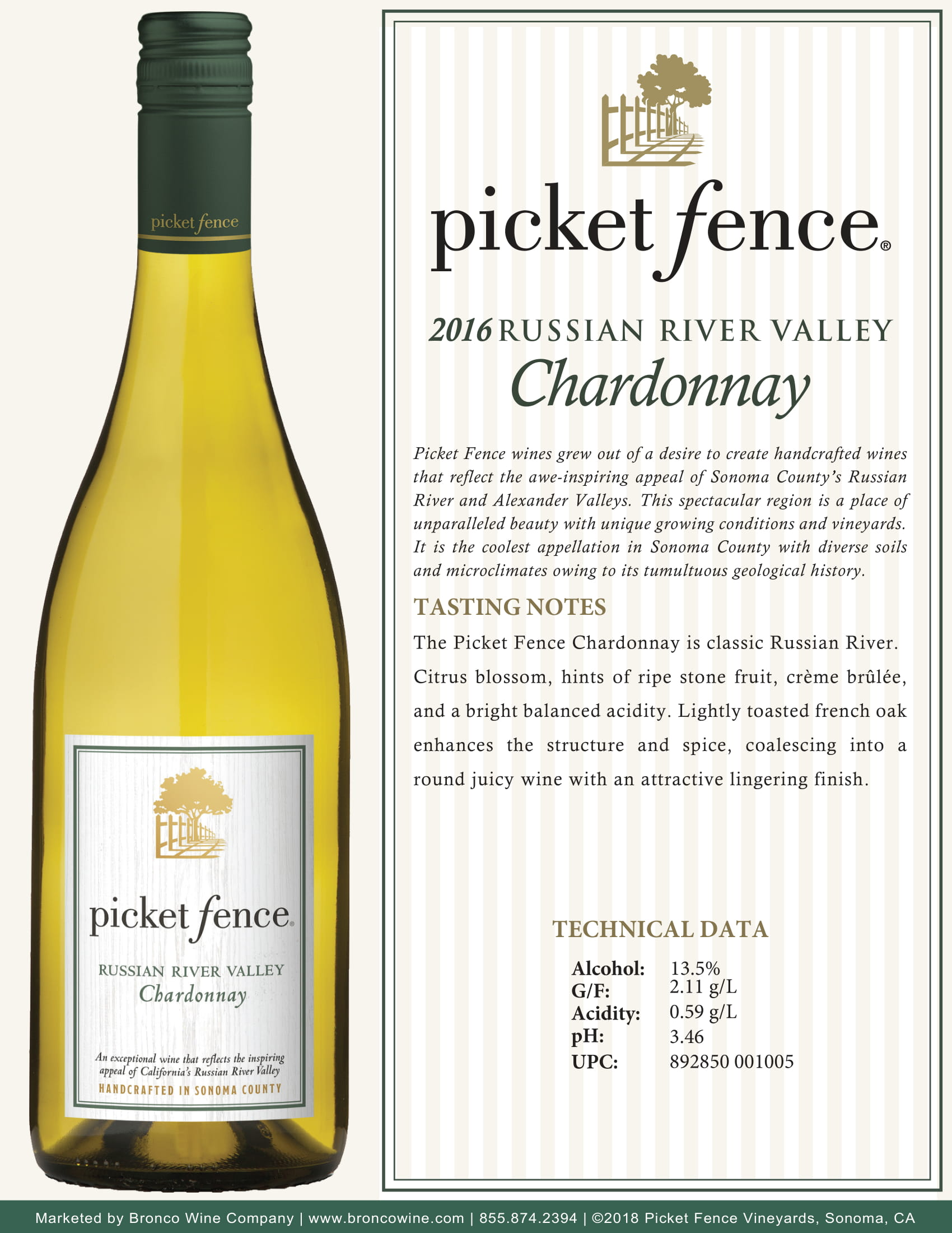 Picket Fence Chardonnay Tech Sheet