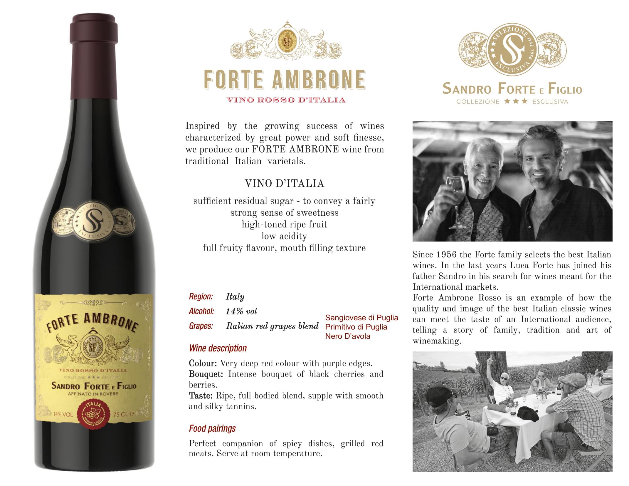 Forte Ambrone Red Wine Tech Sheet
