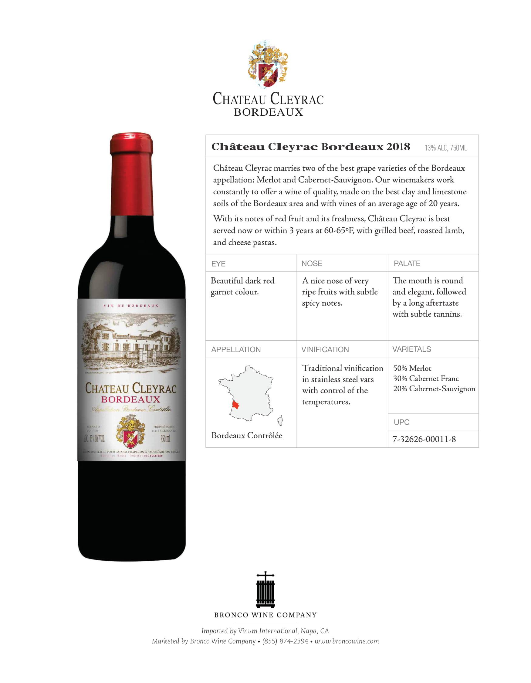 Chateau Cleyrac Bordeaux Tech Sheet