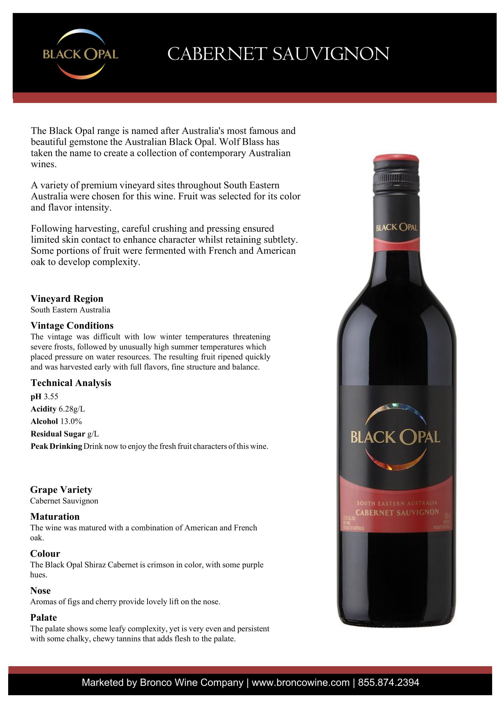 Black Opal Cabernet Sauvignon Tech Sheet