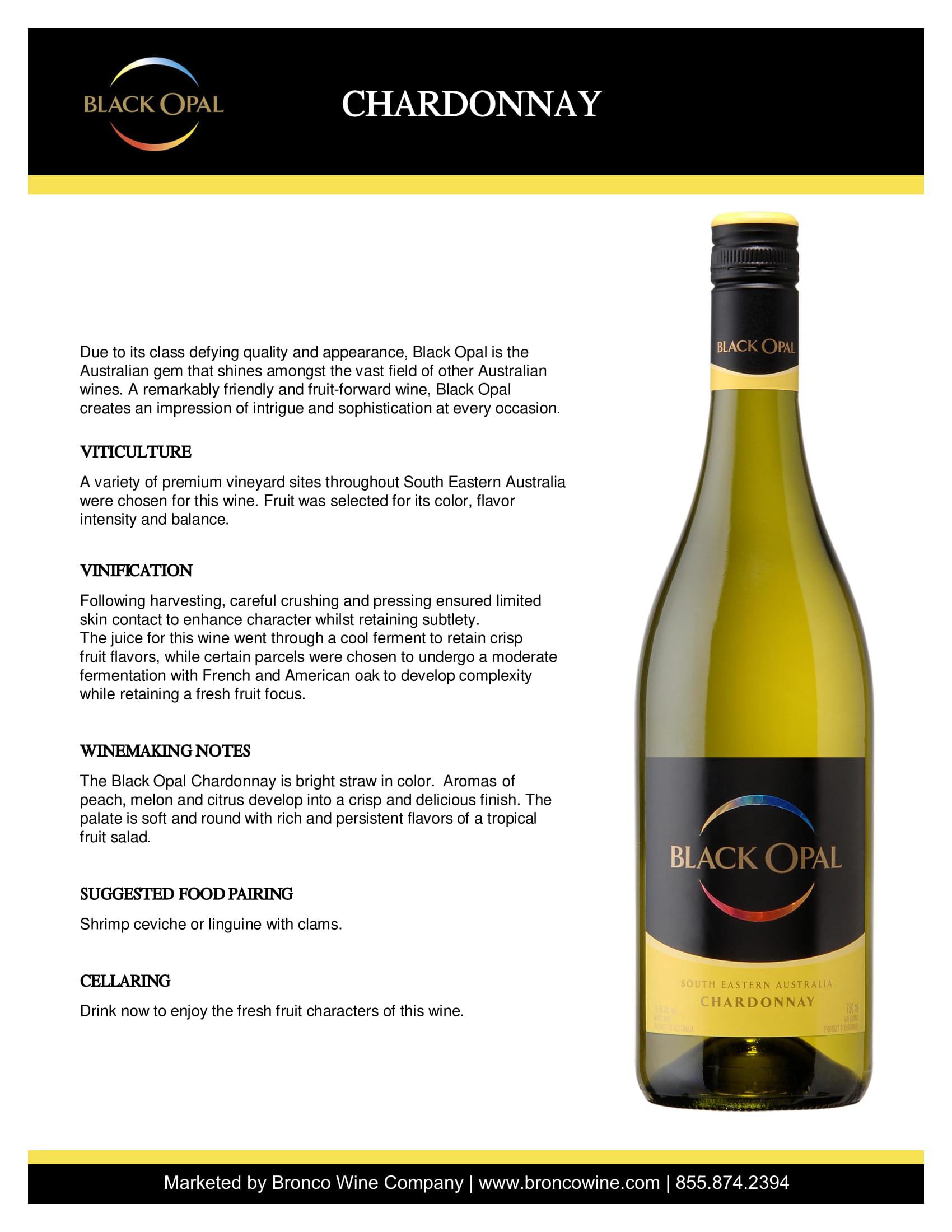Black Opal Chardonnay Tech Sheet