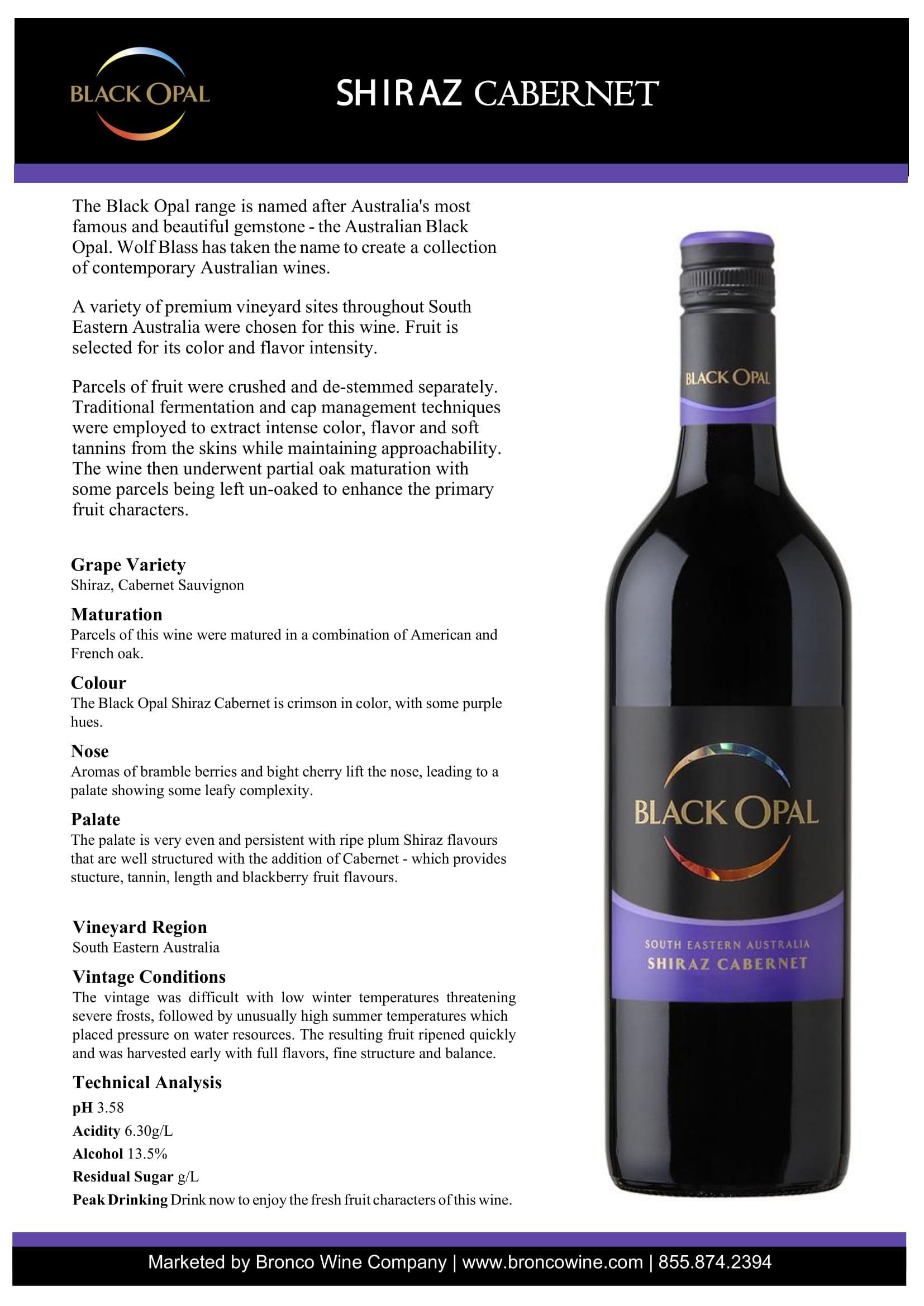 Black Opal Shiraz Cabernet Tech Sheet