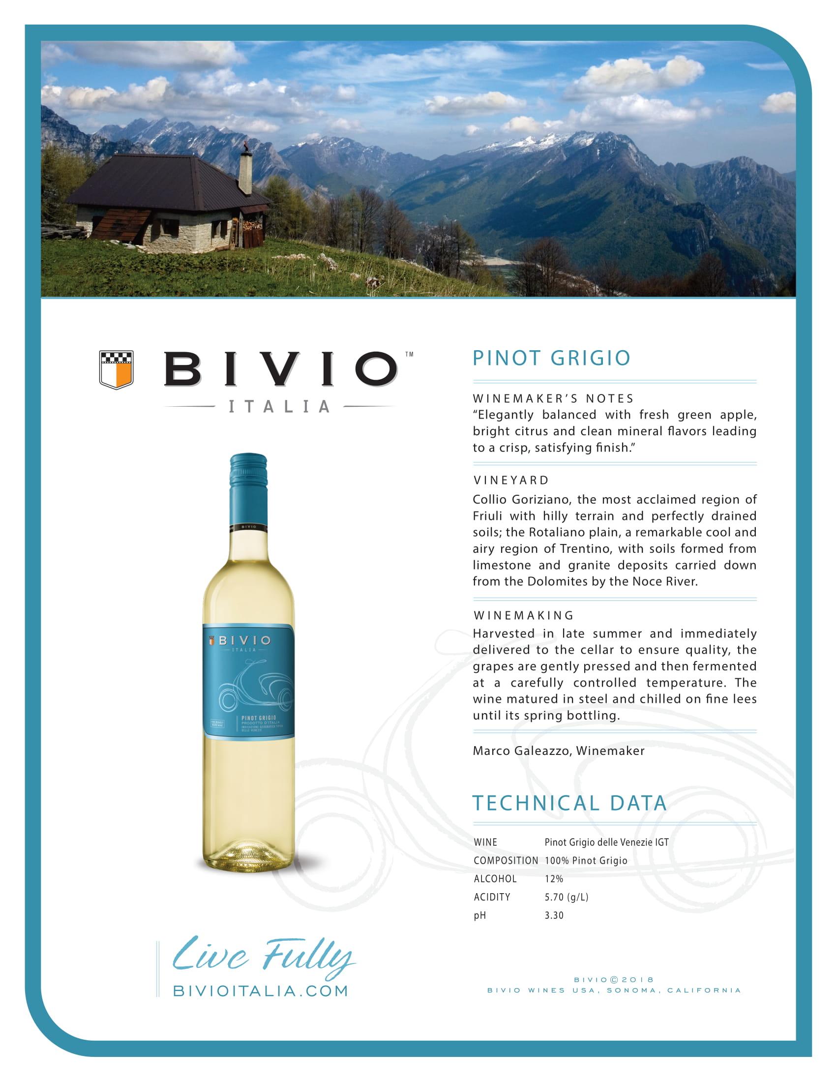 Bivio Pinot Grigio Tech Sheet