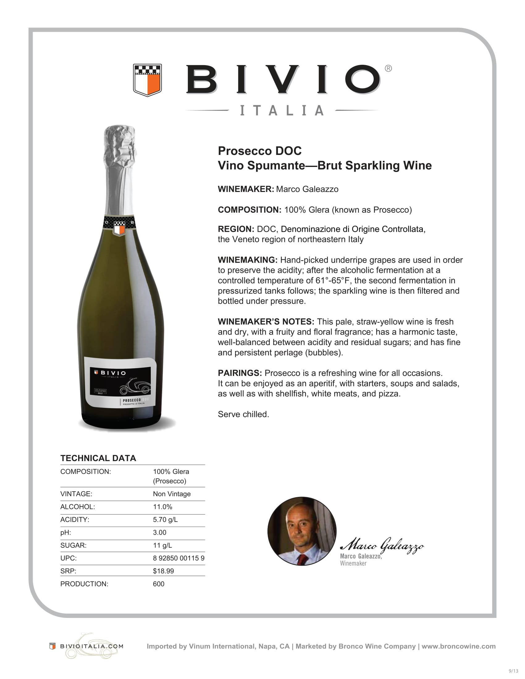 Bivio Prosecco Tech Sheet