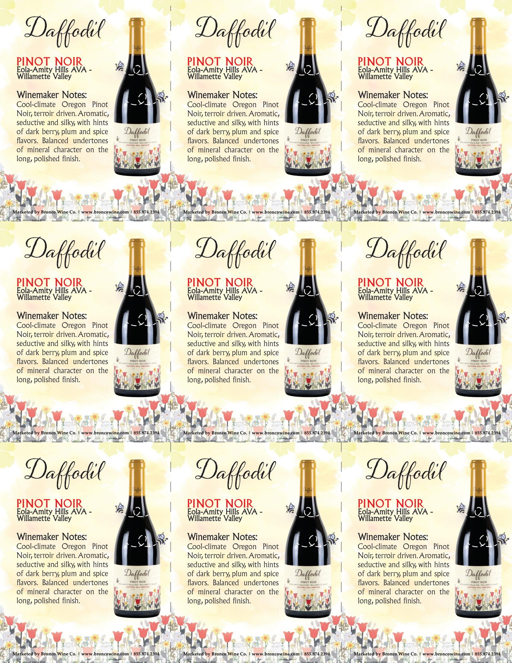 Daffodil Pinot Noir Shelf Talkers