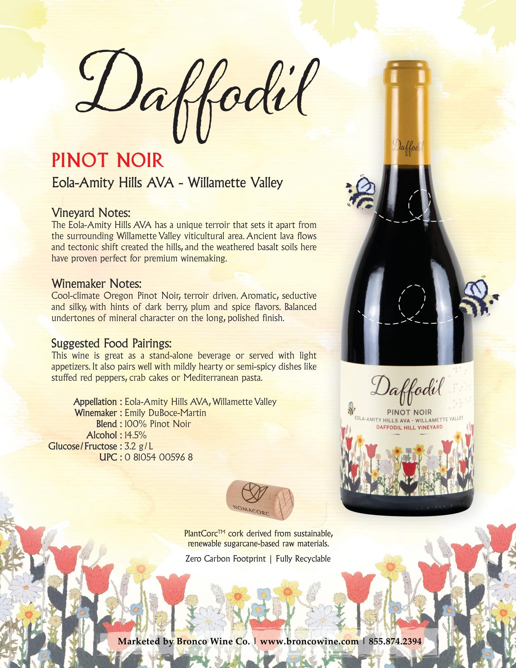 Daffodil Pinot Noir Tech Sheet