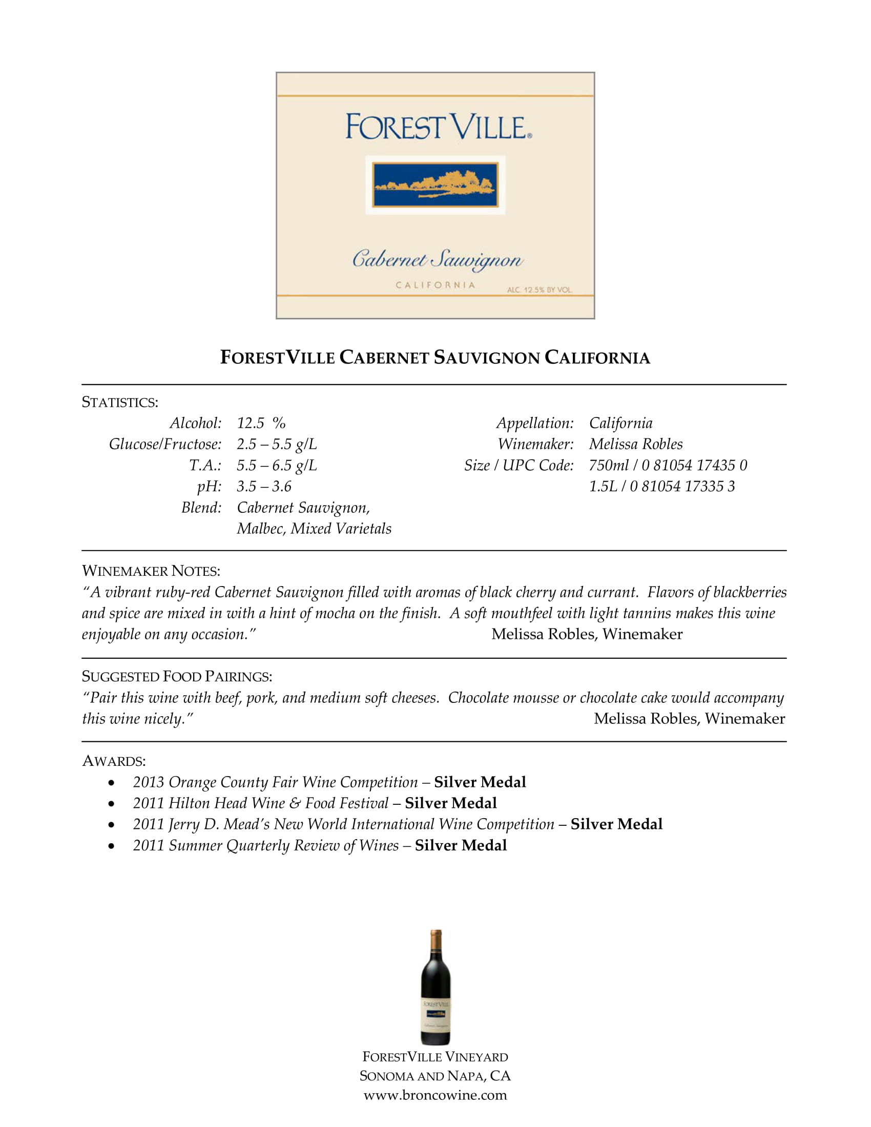 Forest Ville Cabernet Sauvignon Tech Sheet