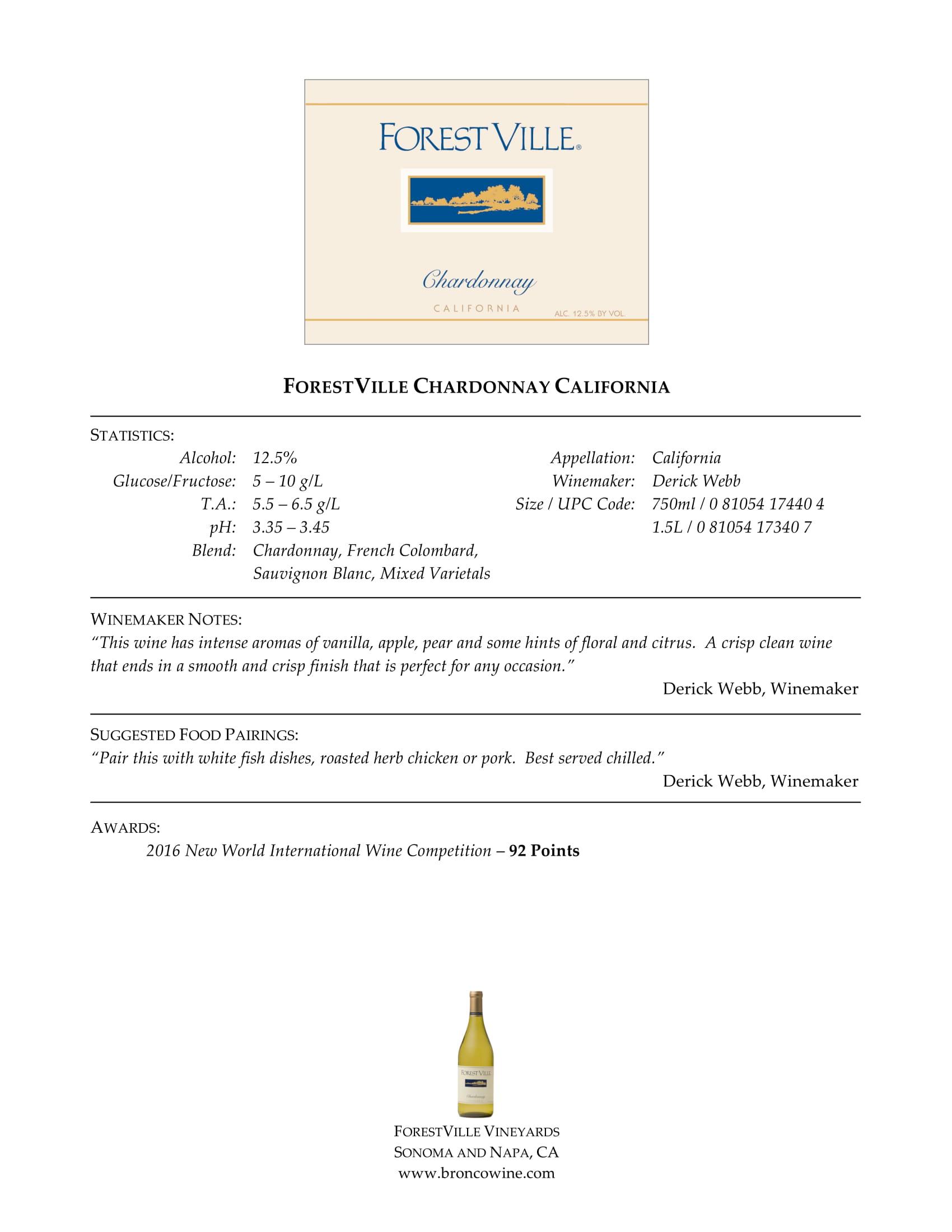 Forest Ville Chardonnay Tech Sheet