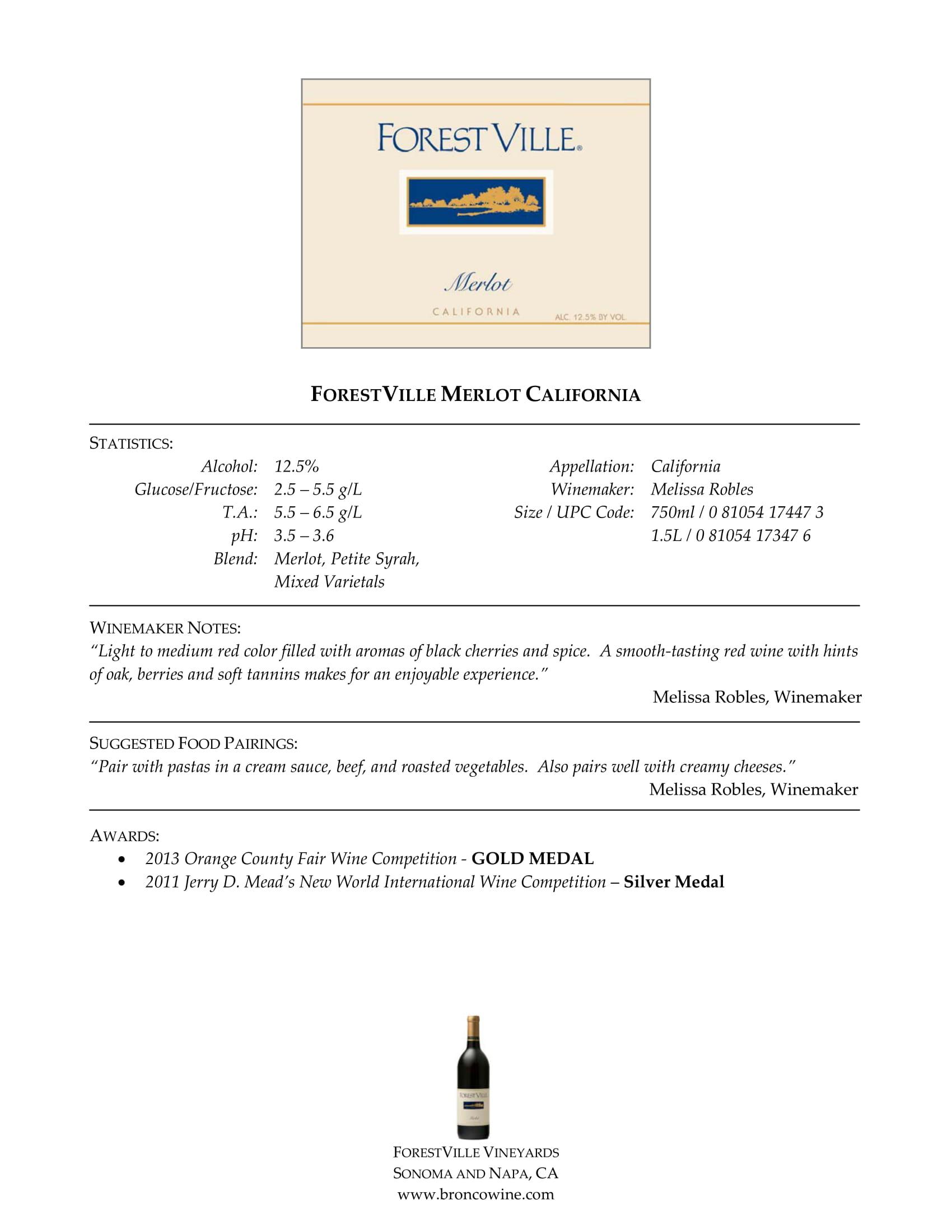 Forest Ville Merlot Tech Sheet