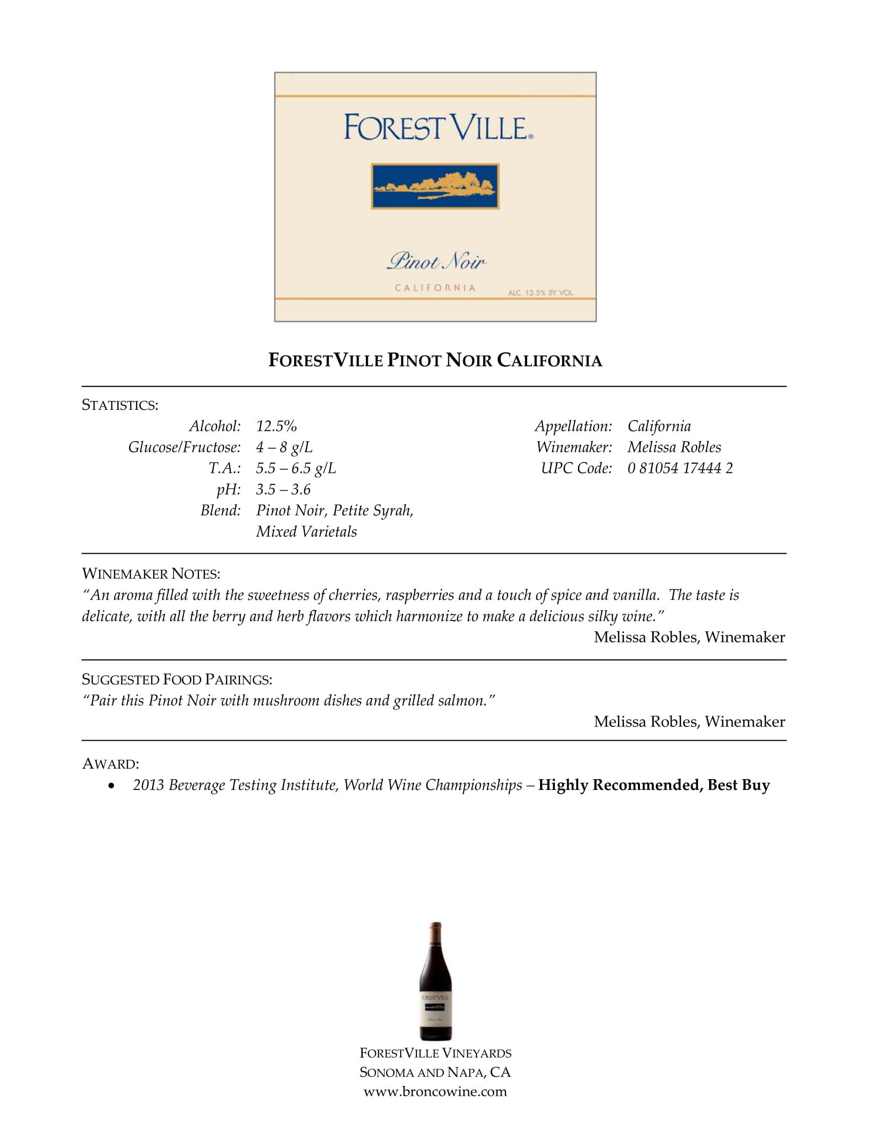 Forest Ville Pinot Noir Tech Sheet