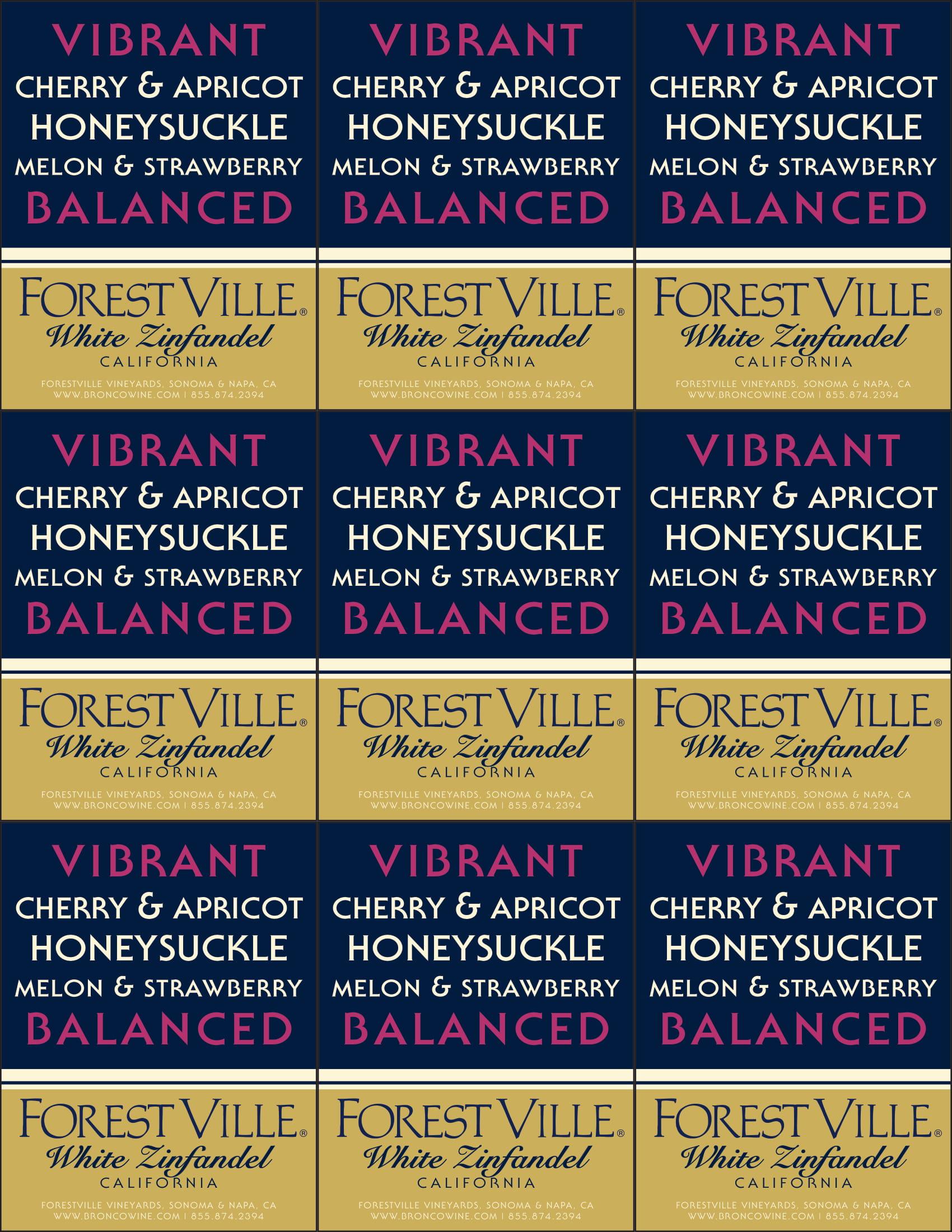 Forest Ville White Zinfandel Shelf Talker