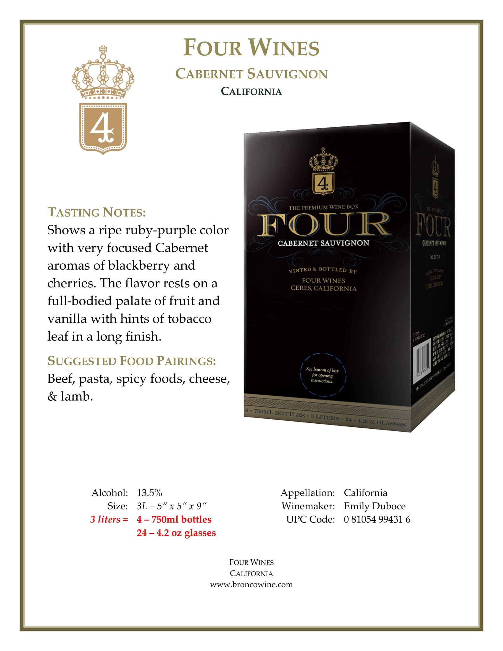 Four Wines Cabernet Sauvignon Box Tech Sheet