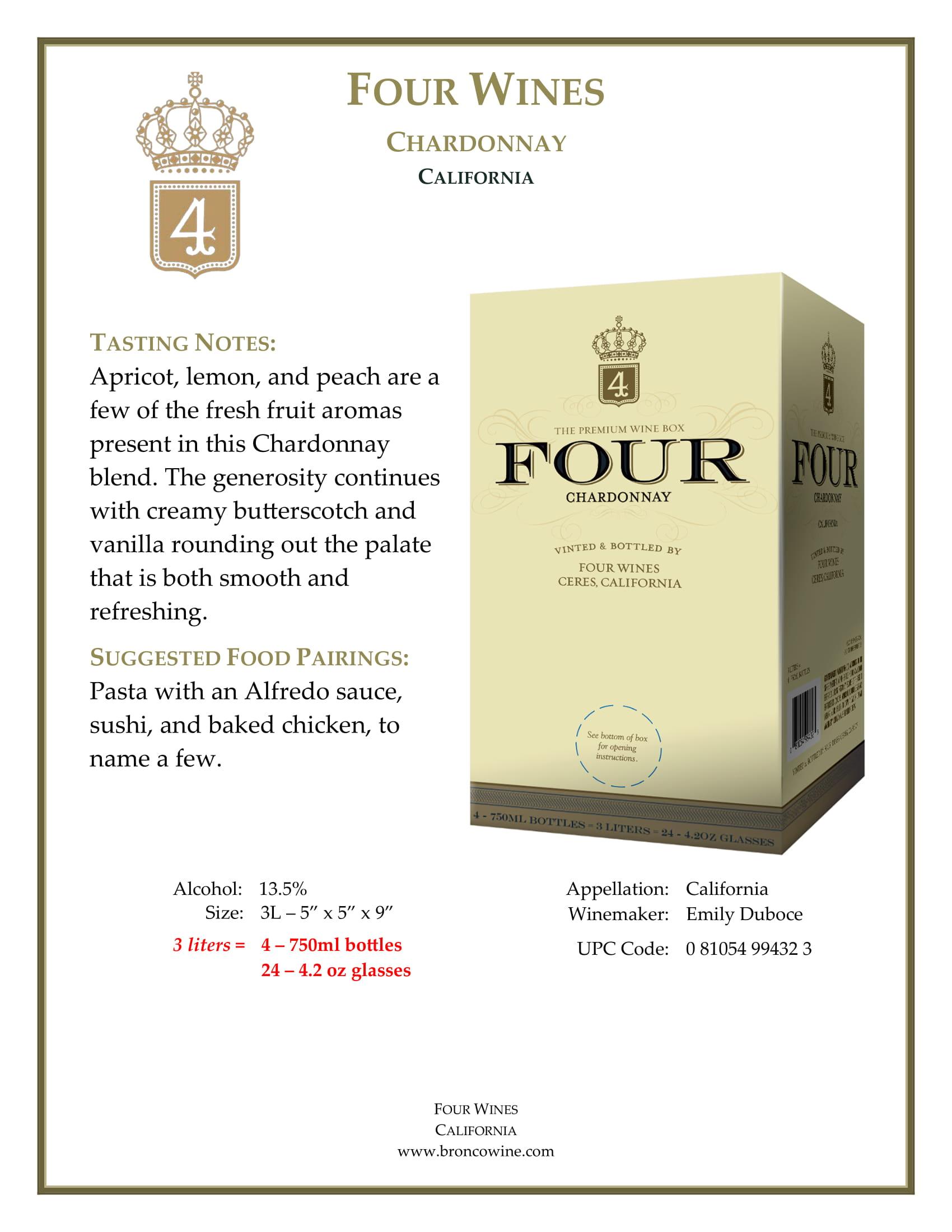 Four Wines Chardonnay Box Tech Sheet