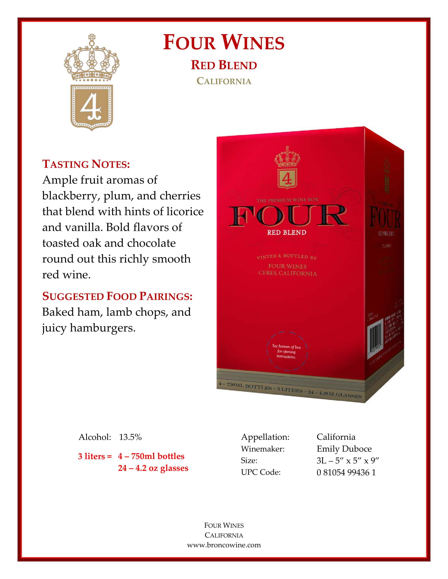 Four Wines Red Blend Box Tech Sheet