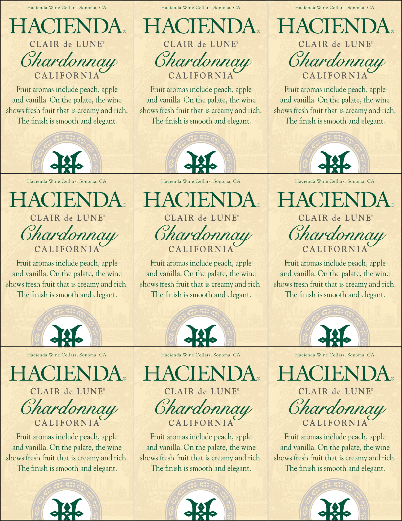 Hacienda Chardonnay Shelf Talker