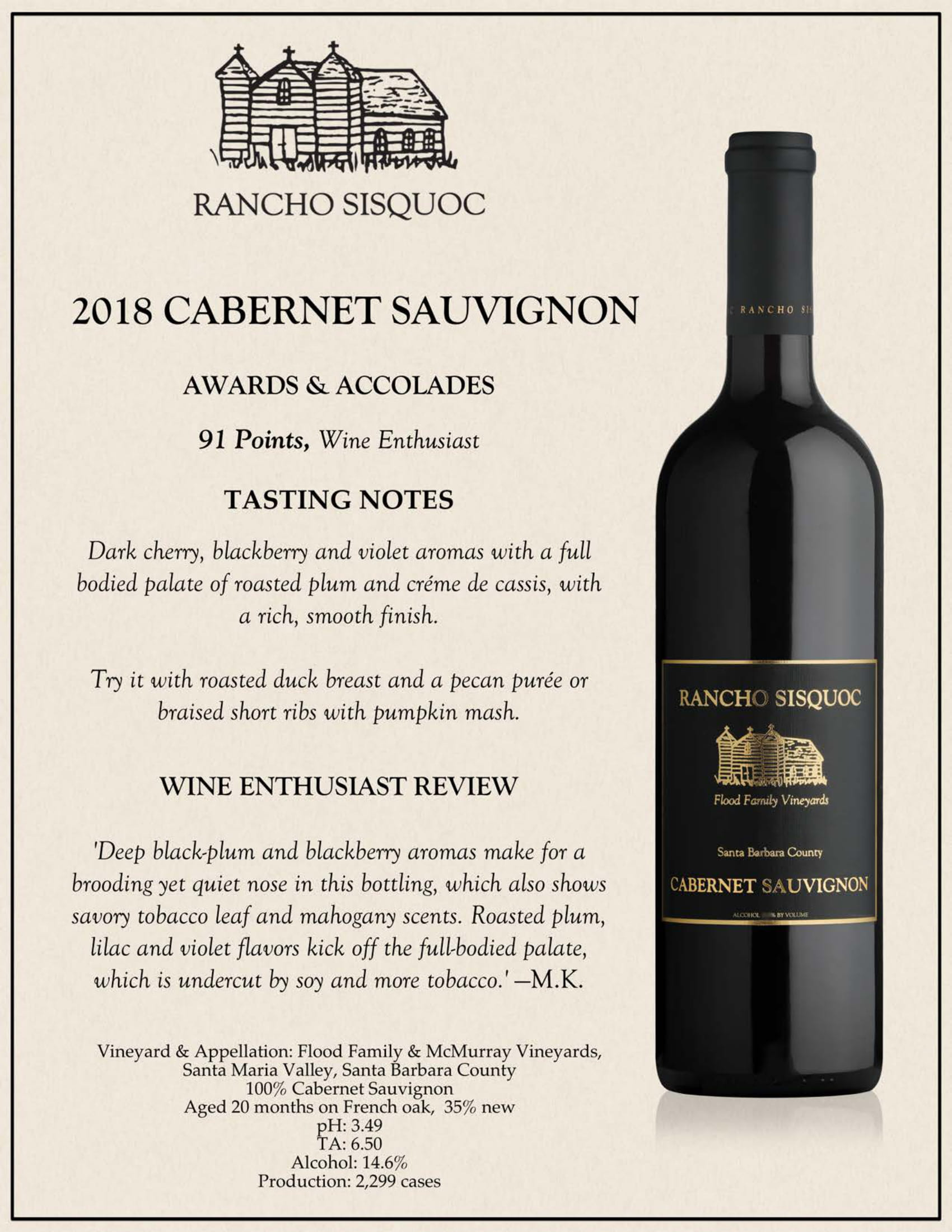 Rancho Sisquoc Cabernet Sauvignon Tech Sheet