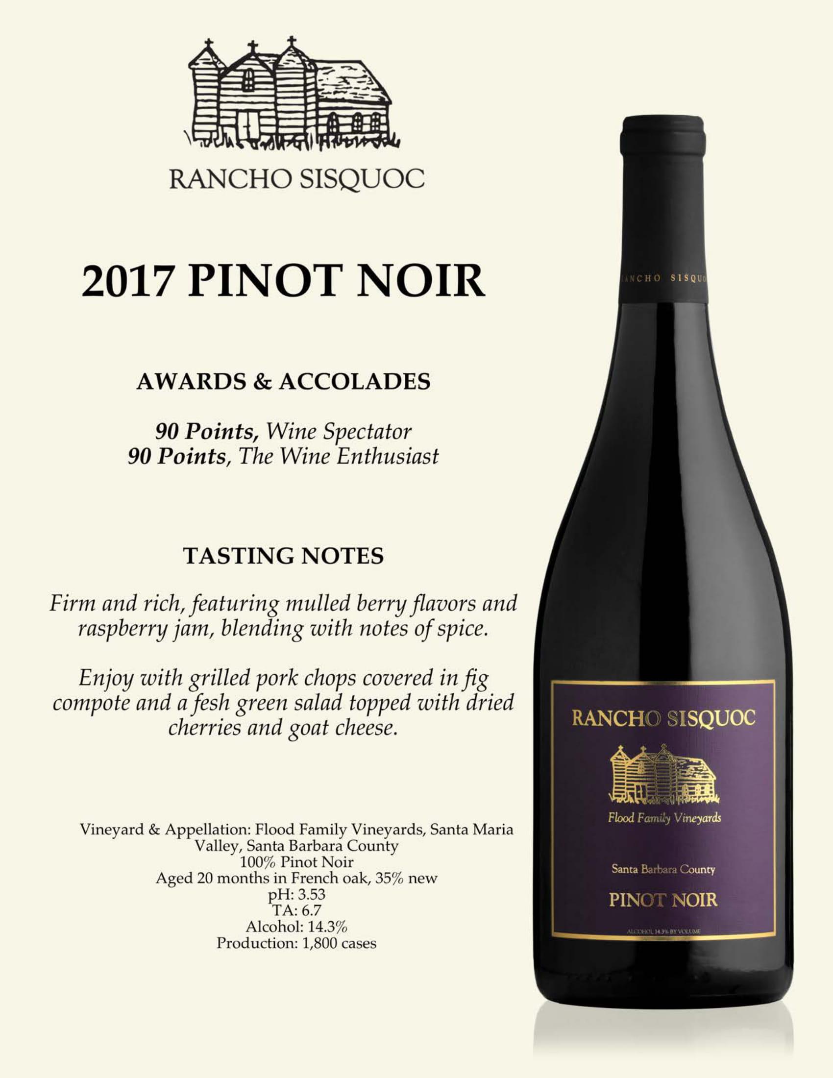 Rancho Sisquoc Pinot Noir Tech Sheet