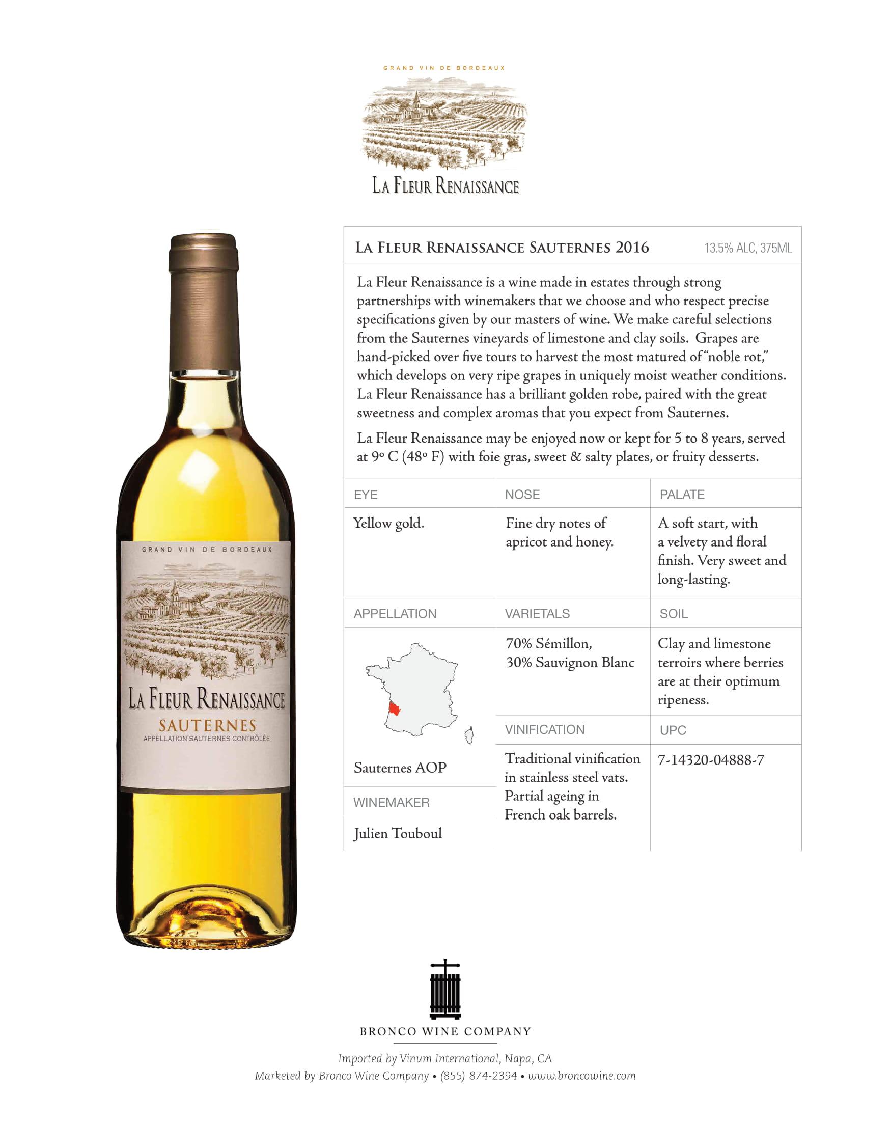 La Fleur Renaissance Sauternes Tech Sheet