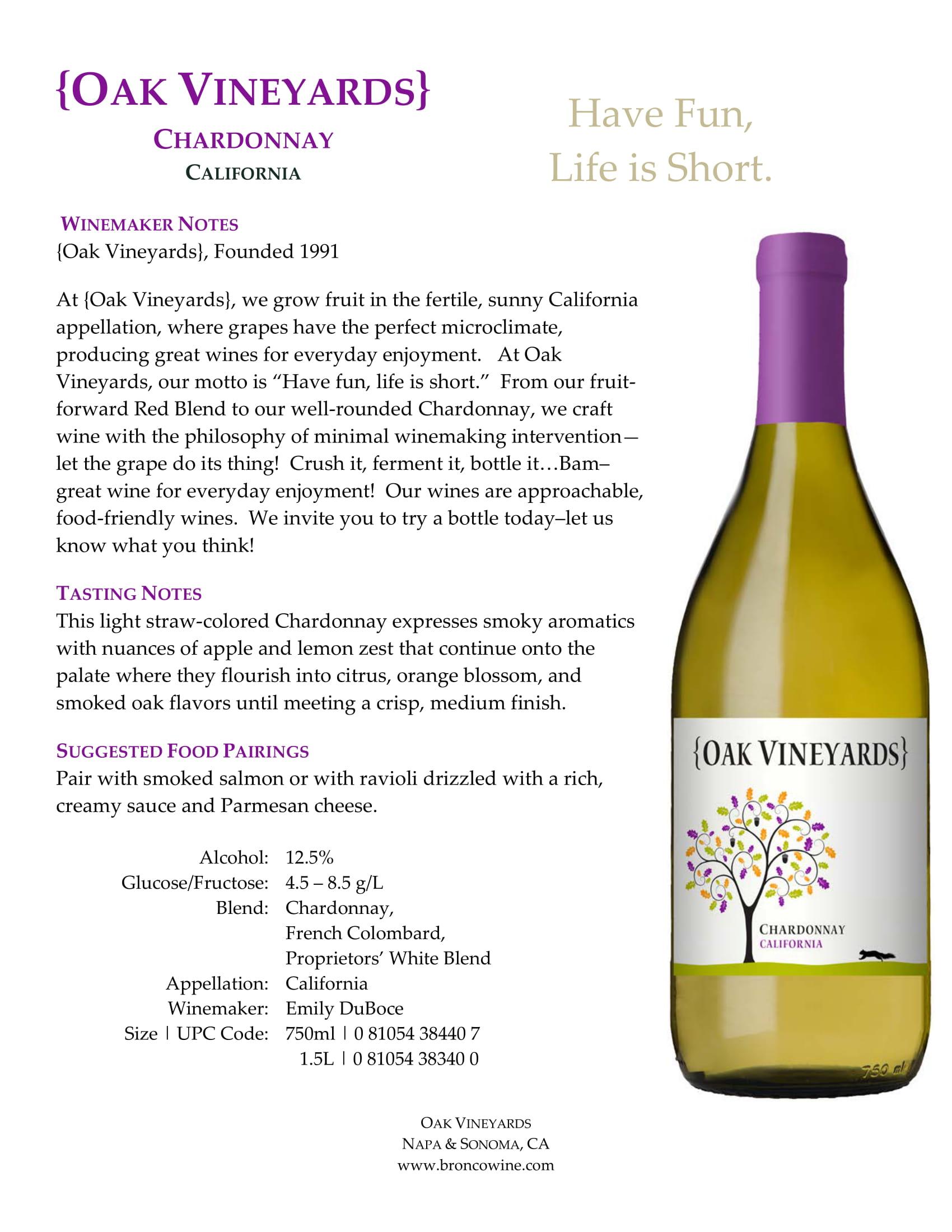 Oak Vineyards Chardonnay Tech Sheet
