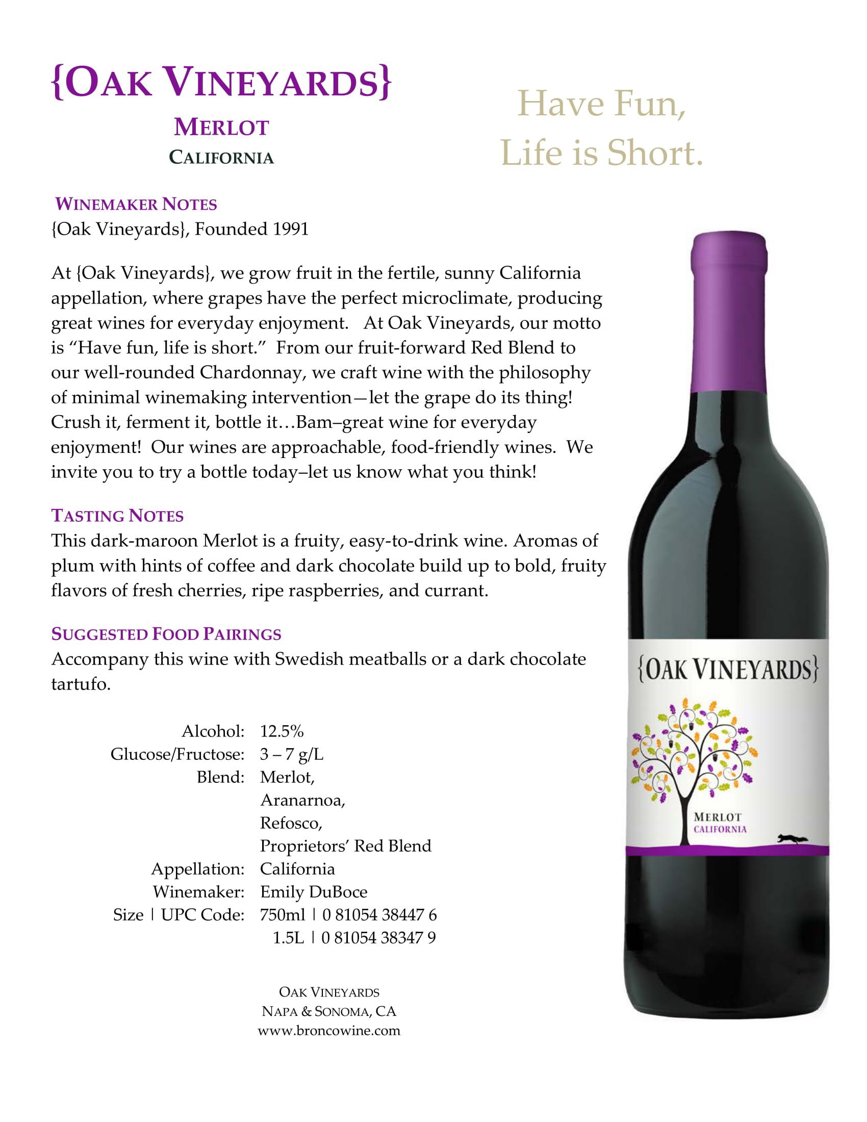 Oak Vineyards Merlot Tech Sheet