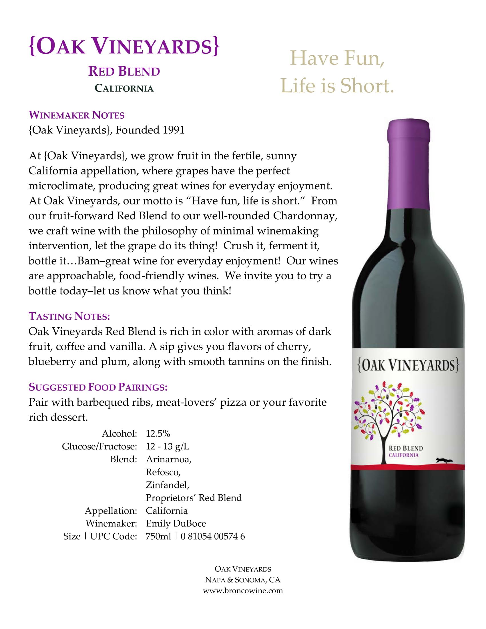 Oak Vineyards Red Blend Tech Sheet