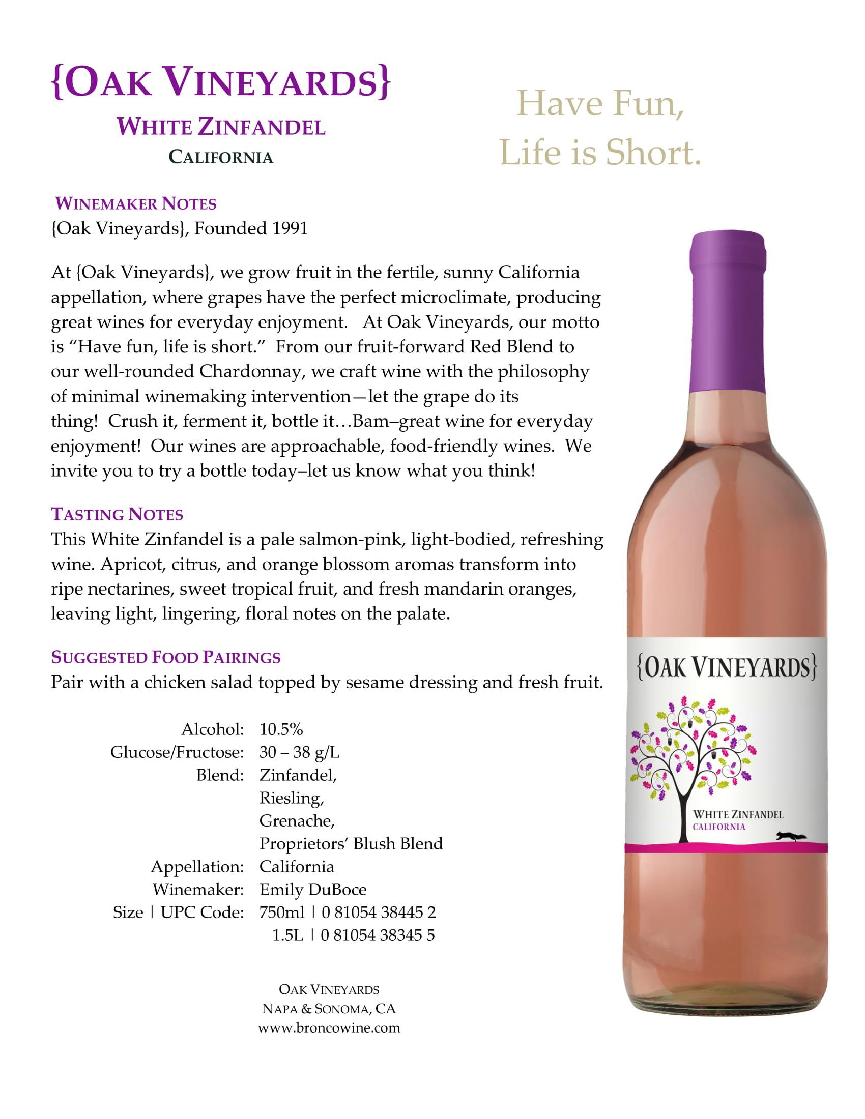 Oak Vineyards White Zinfandel Tech Sheet