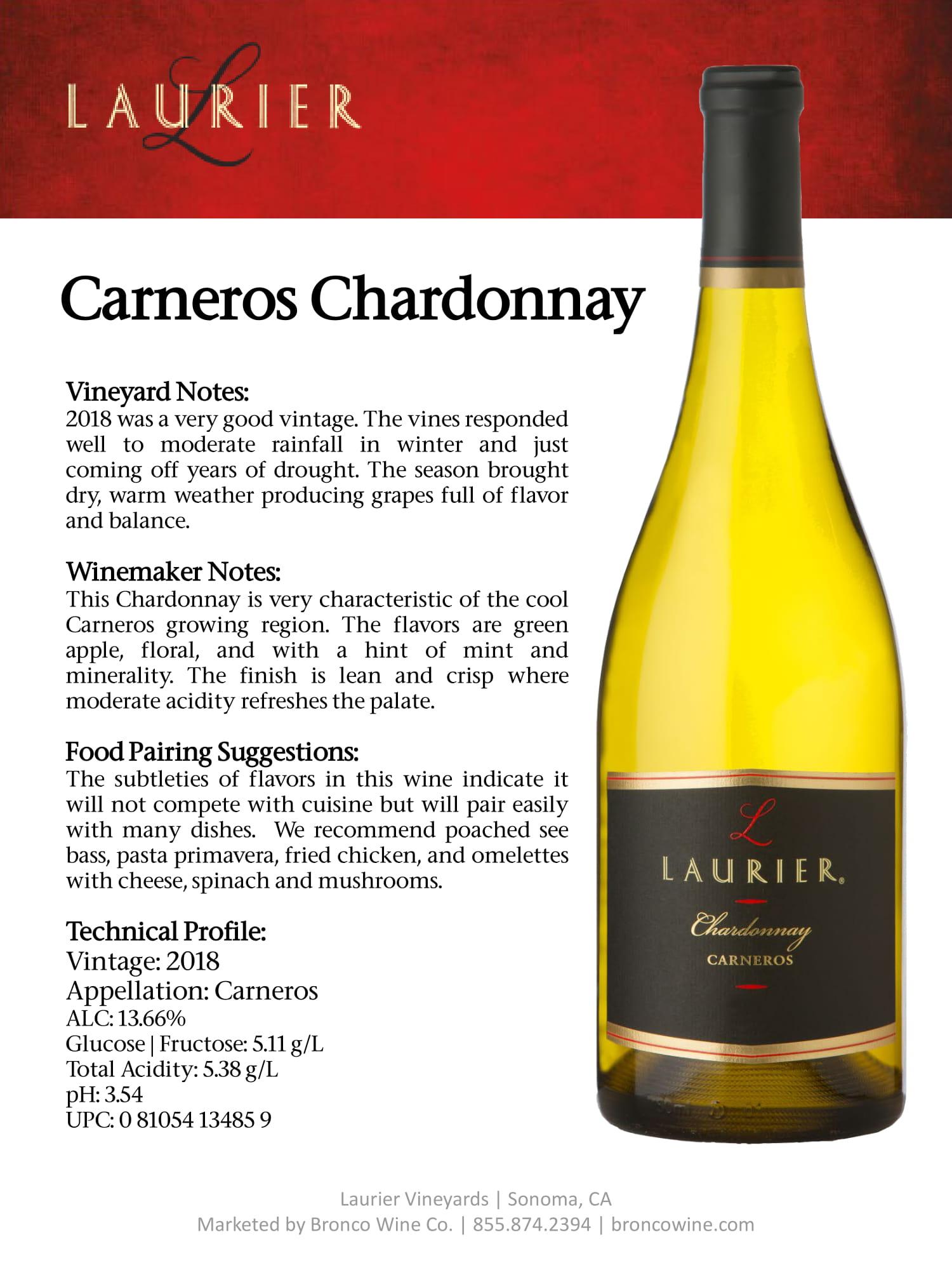 Laurier Chardonnay Tech Sheet