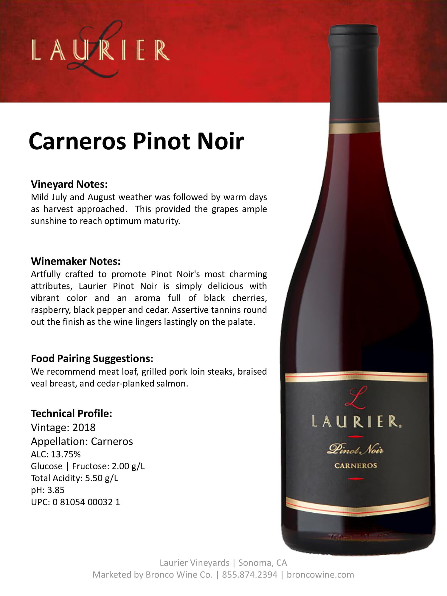 Laurier Pinot Noir Tech Sheet