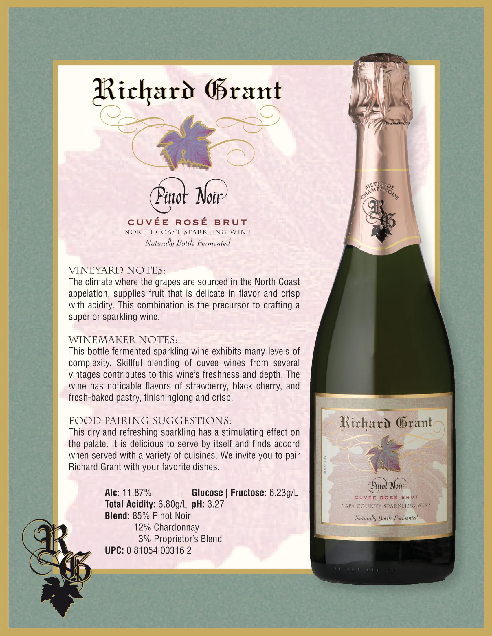Richard Grant Pinot Noir Cuvée Rosé Brut Tech Sheet