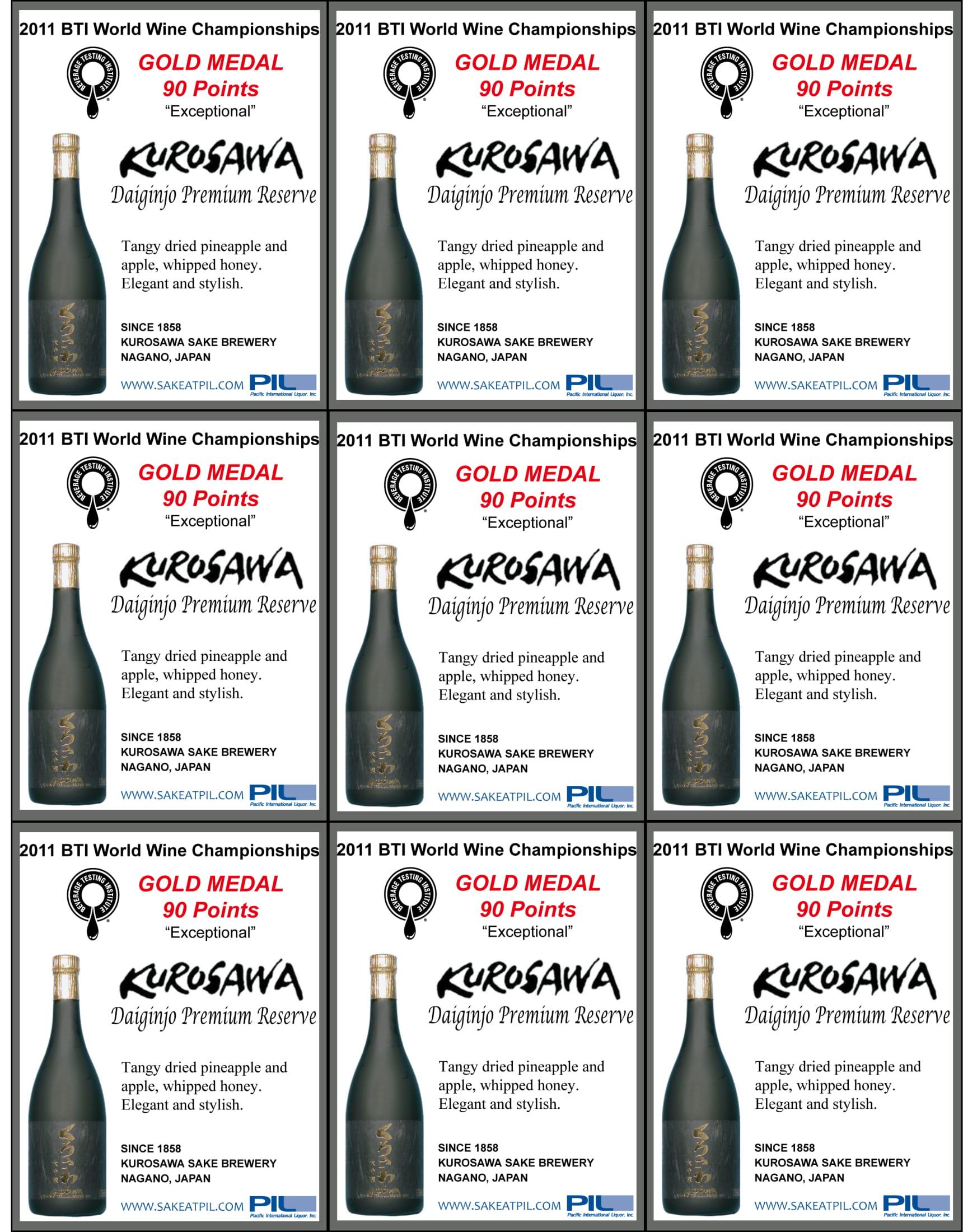 Kurosawa Sake Daiginjo Premium Sake Shelf Talker
