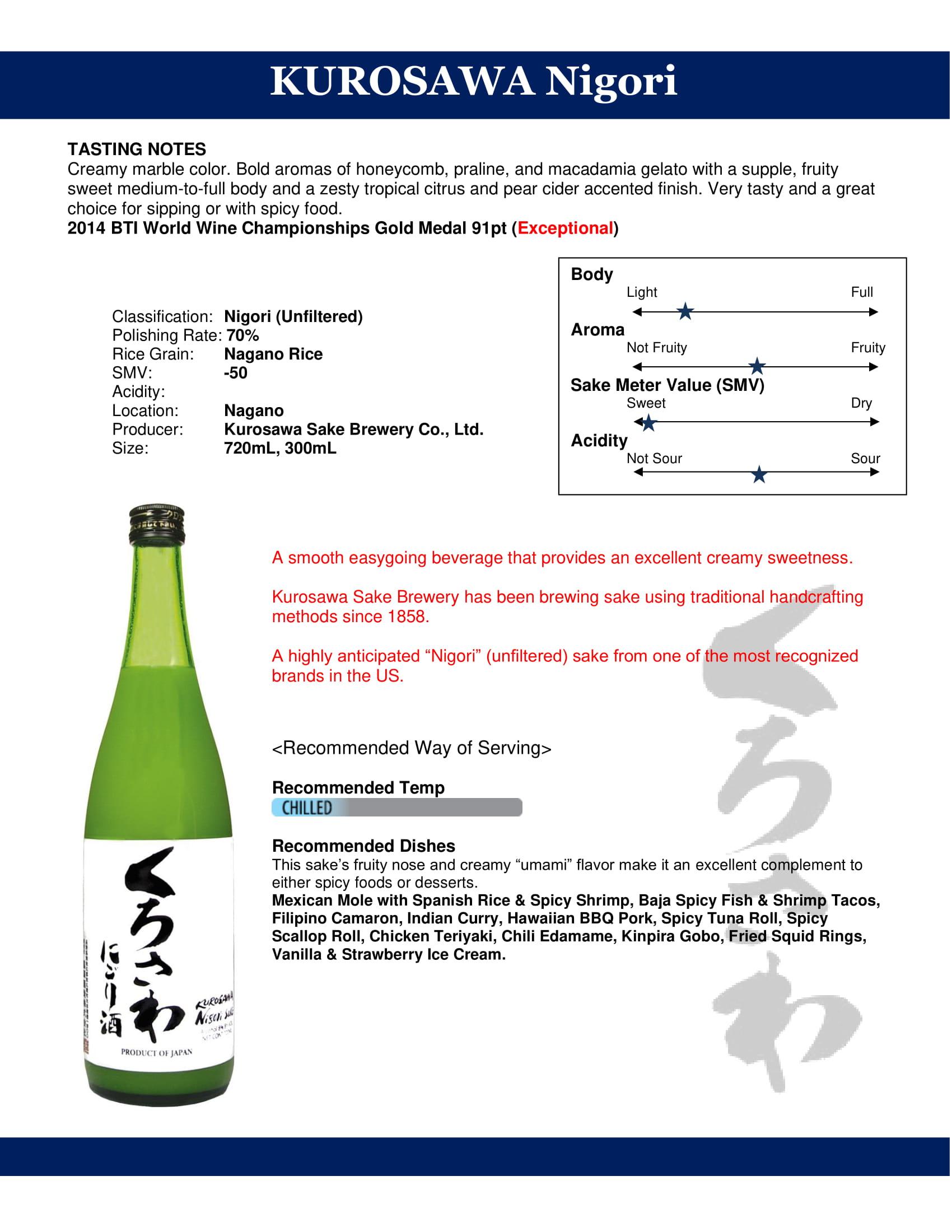Kurosawa Sake Nigori Tech Sheet
