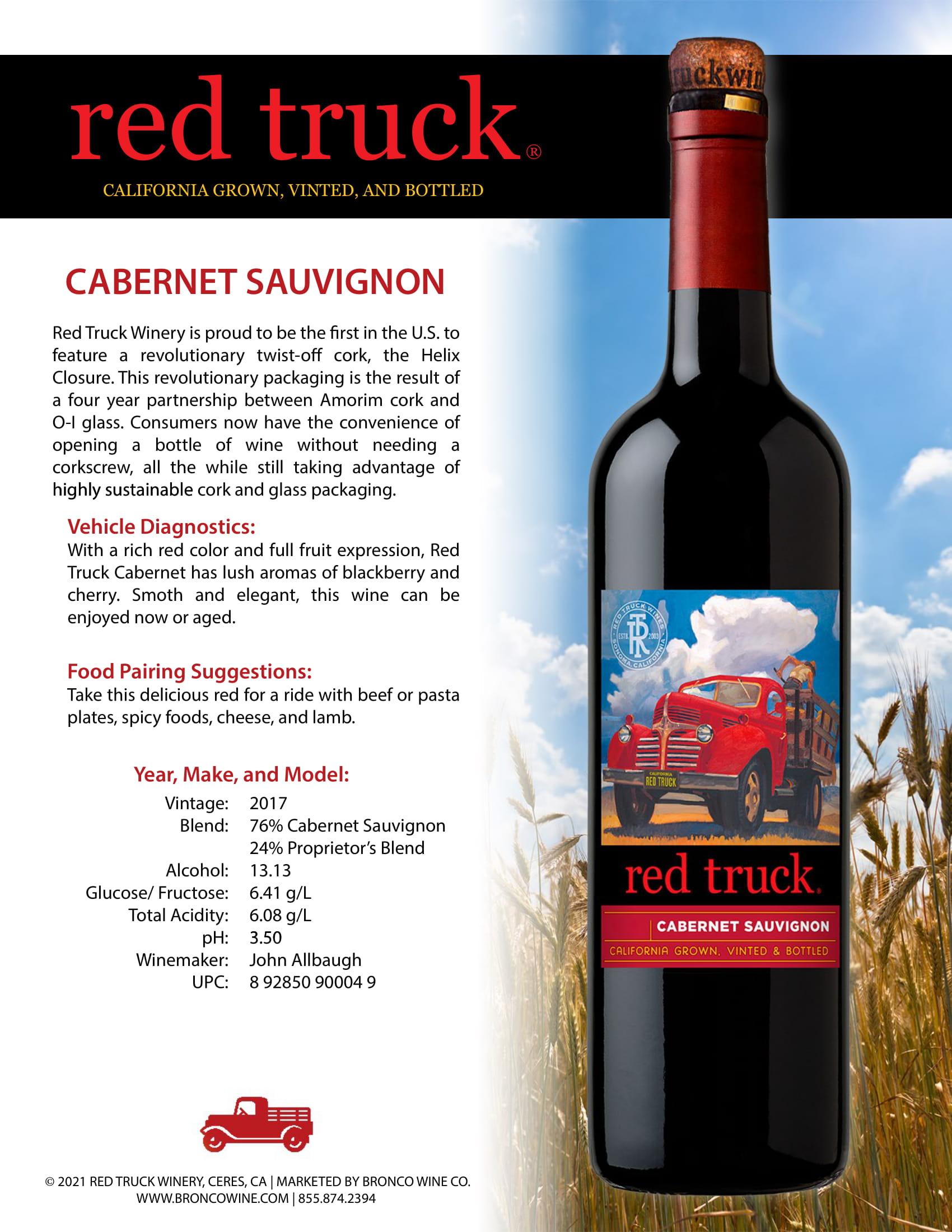 Red Truck Cabernet Sauvignon Tech Sheet