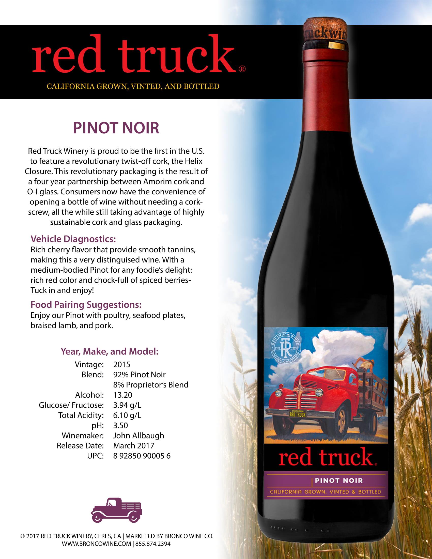 Red Truck Pinot Noir Tech Sheet