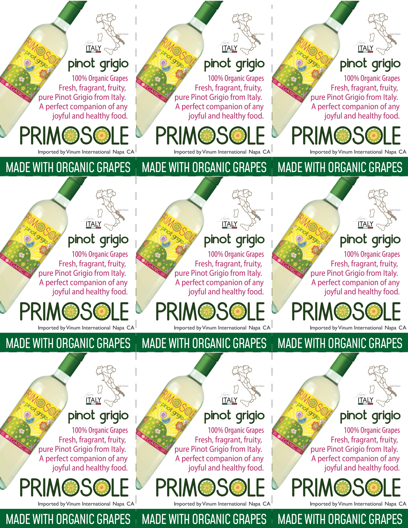 PrimoSole Pinot Grigio Shelf Talker