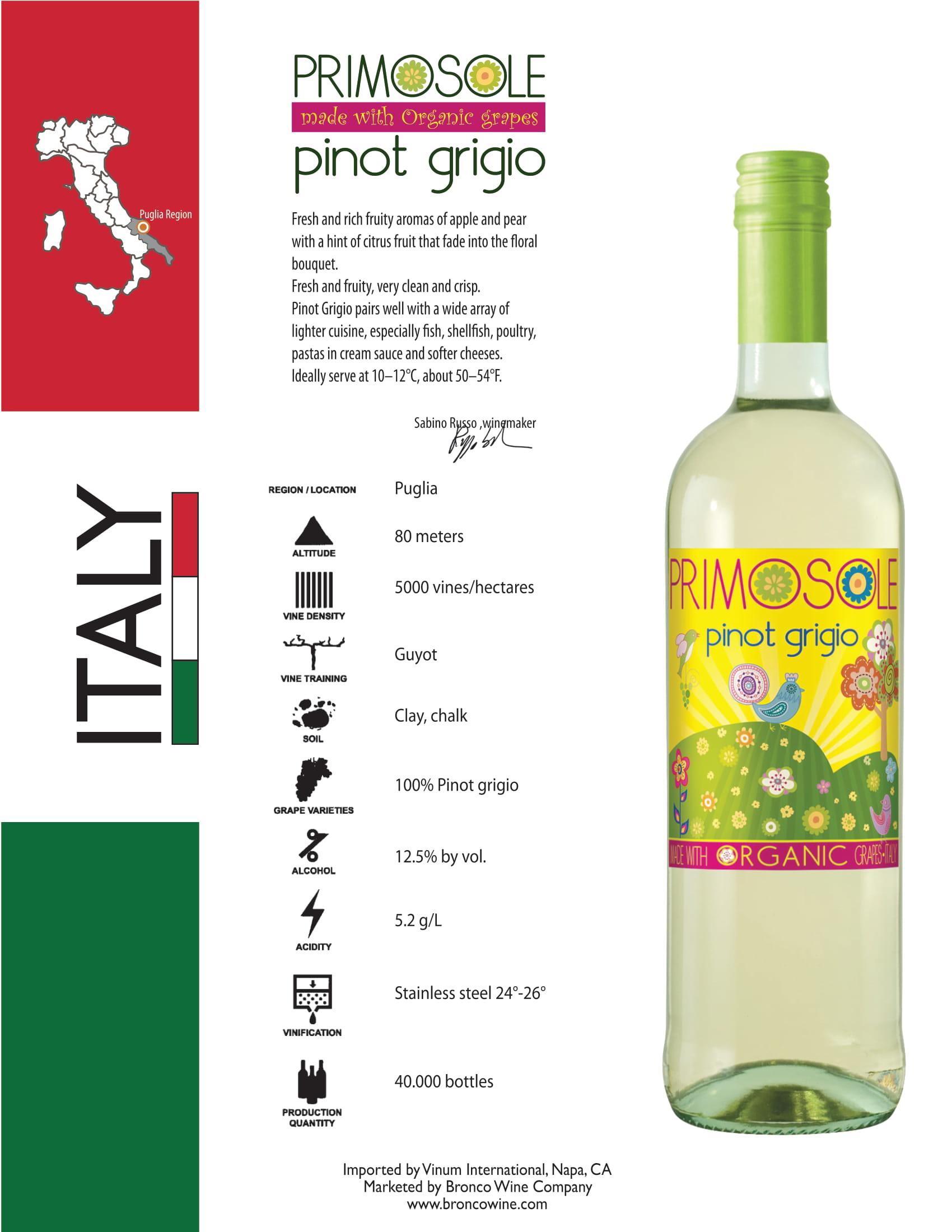 PrimoSole Pinot Grigio Tech Sheet